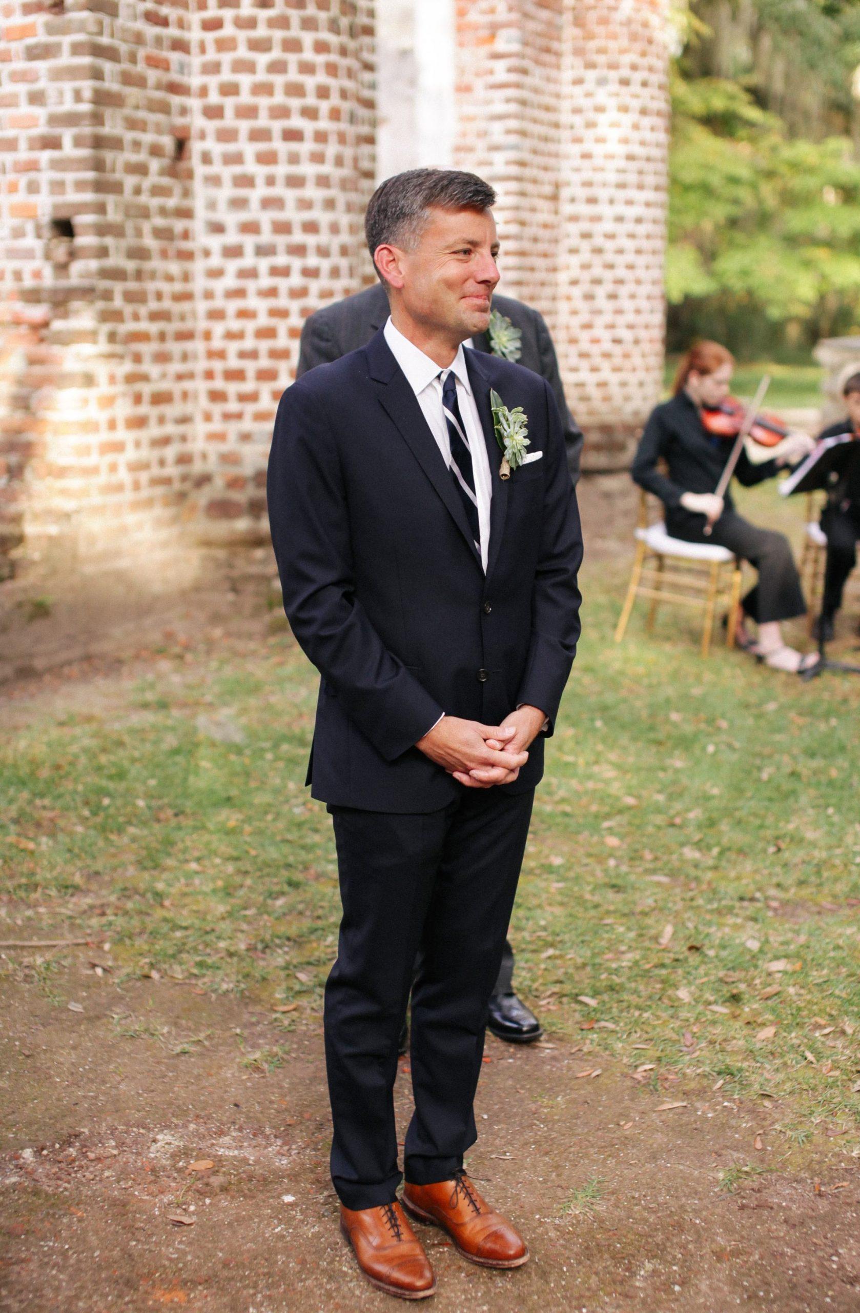 groom blue suit striped tie