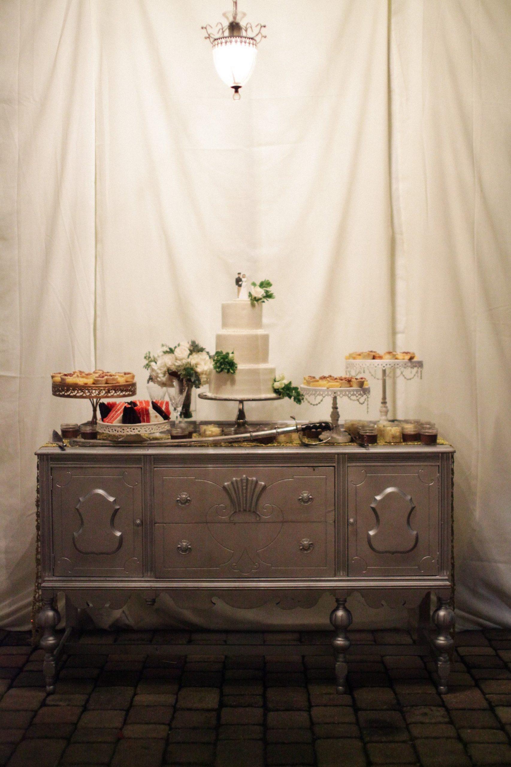 dessert display wedding reception