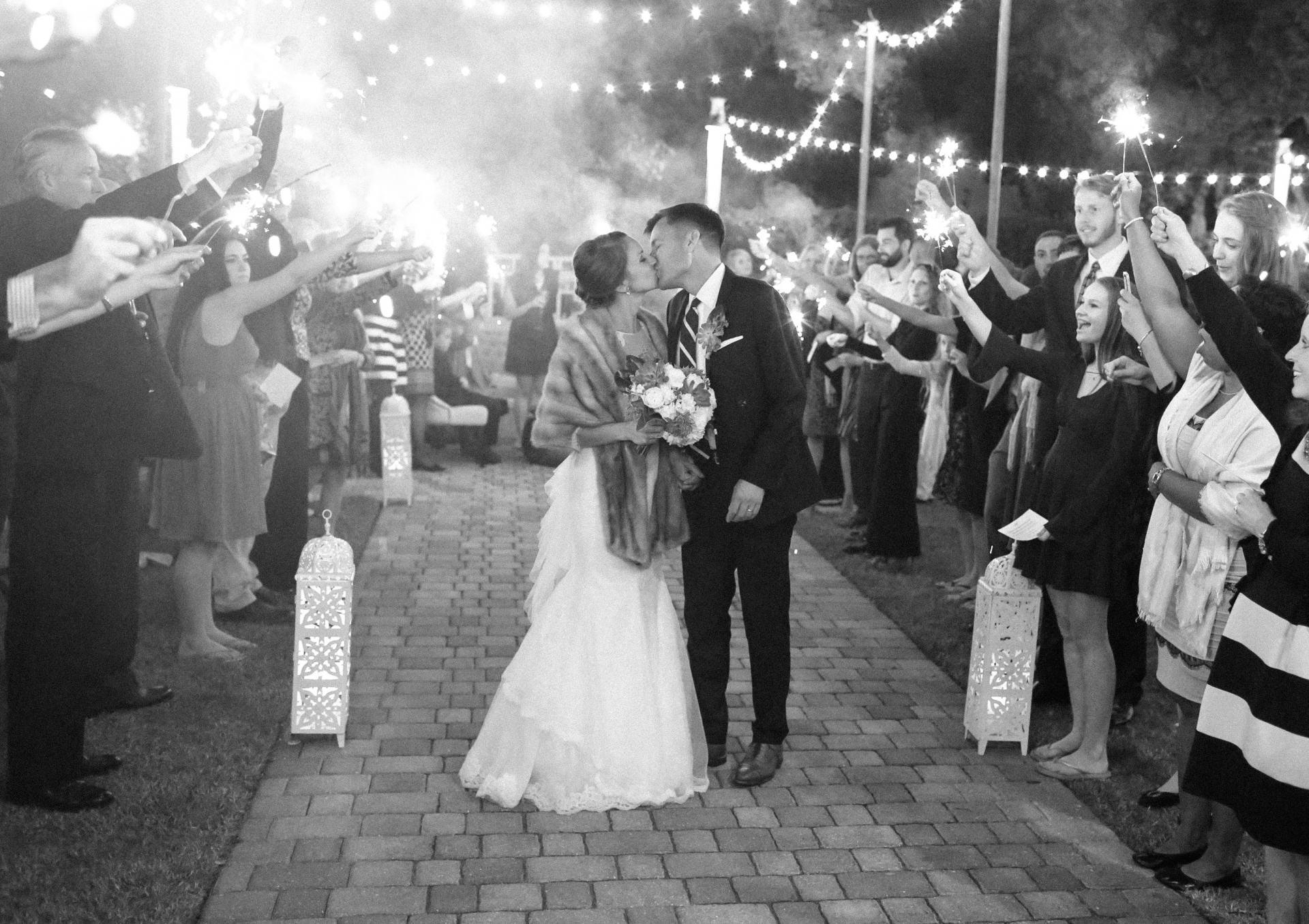 fall wedding exit