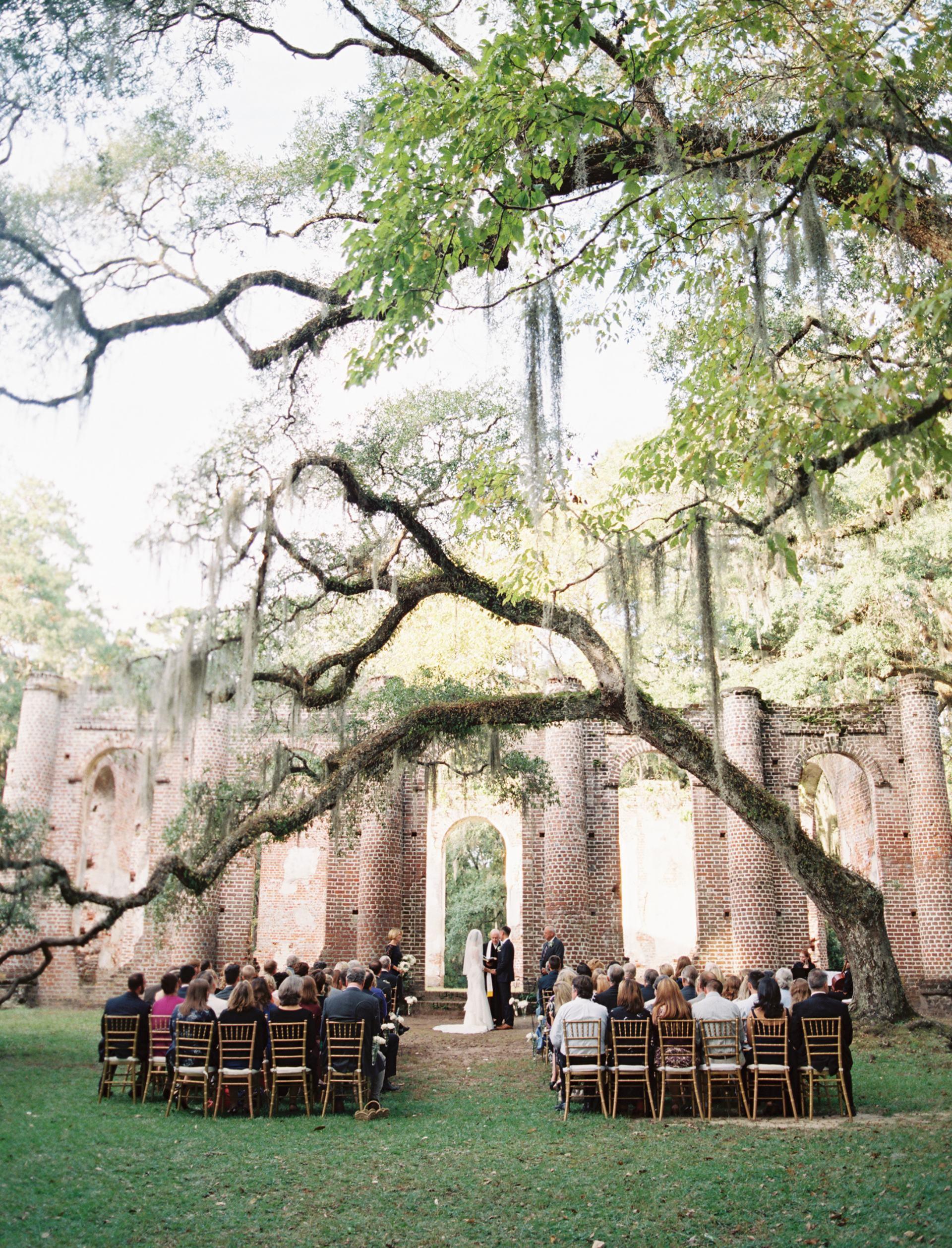 old sheldon church ruins oak trees wedding