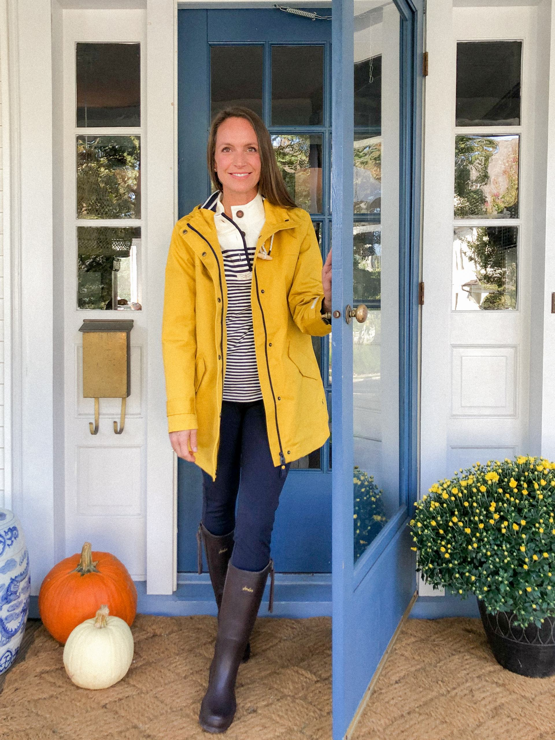 collette rain boots with striped sweatshirt and yellow jacket