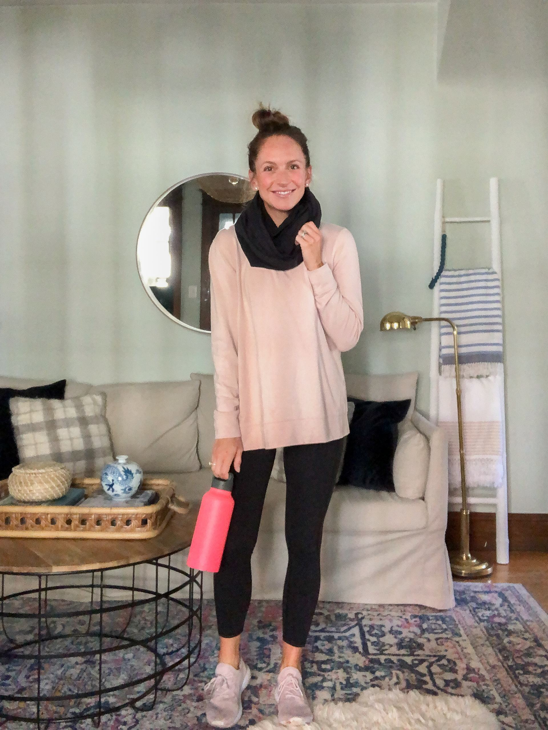 athleisure outfit with light pink daily ritual sweatshirt and colorfulkoala leggings