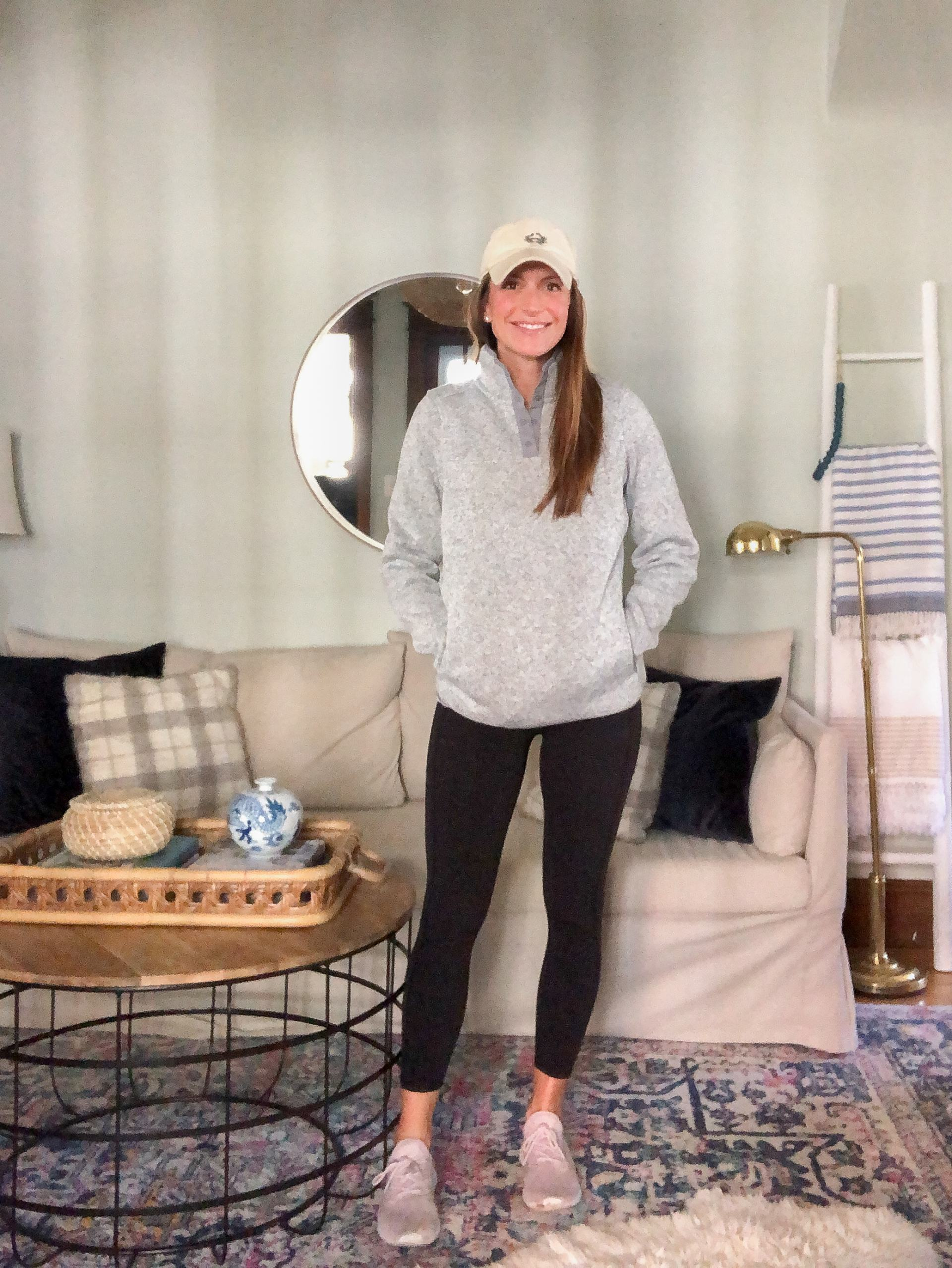 athleisure outfit with ll bean fleece and amazon leggings