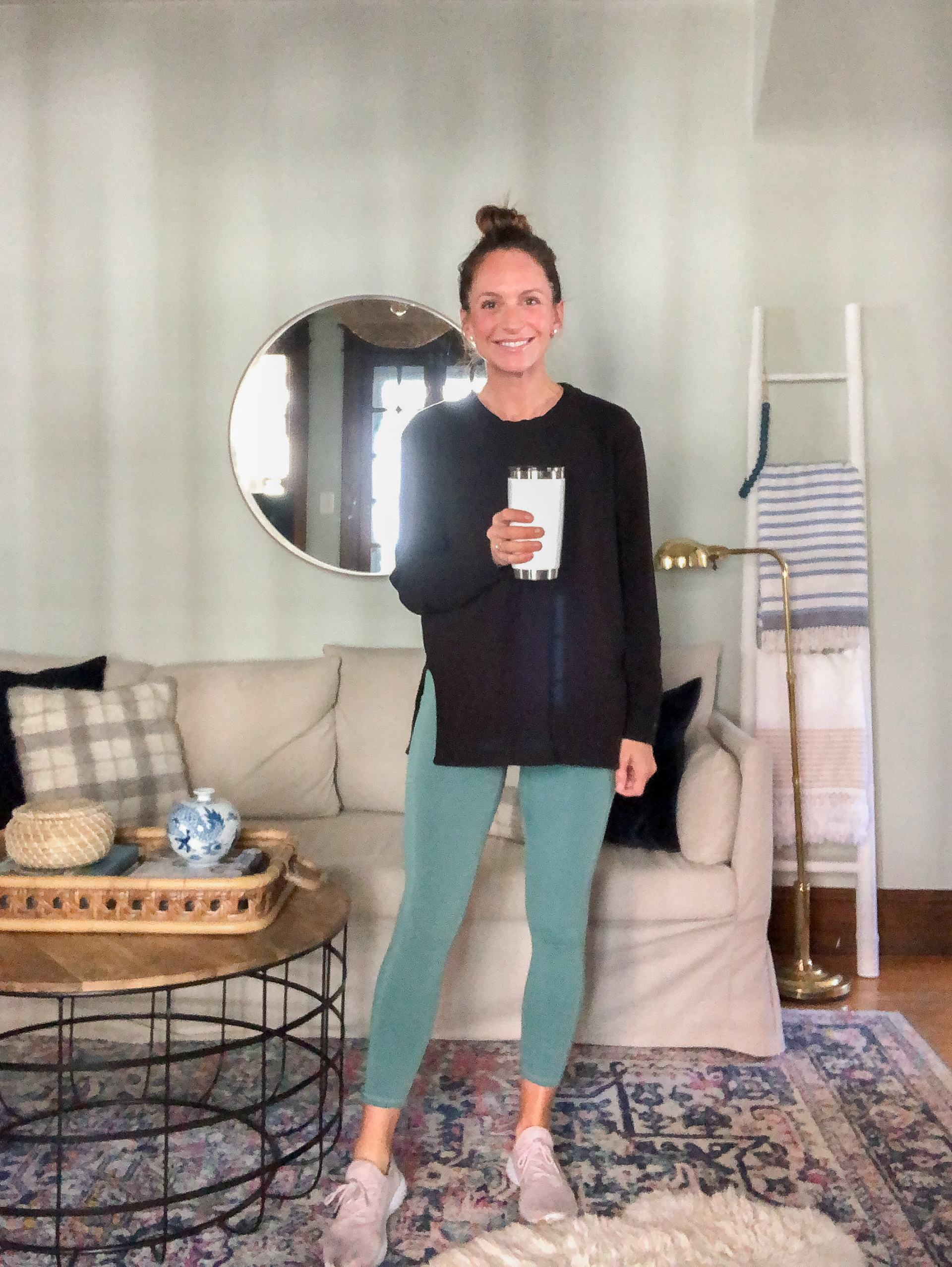 athleisure outfit with black daily ritual sweatshirt and colorfulkoala leggings