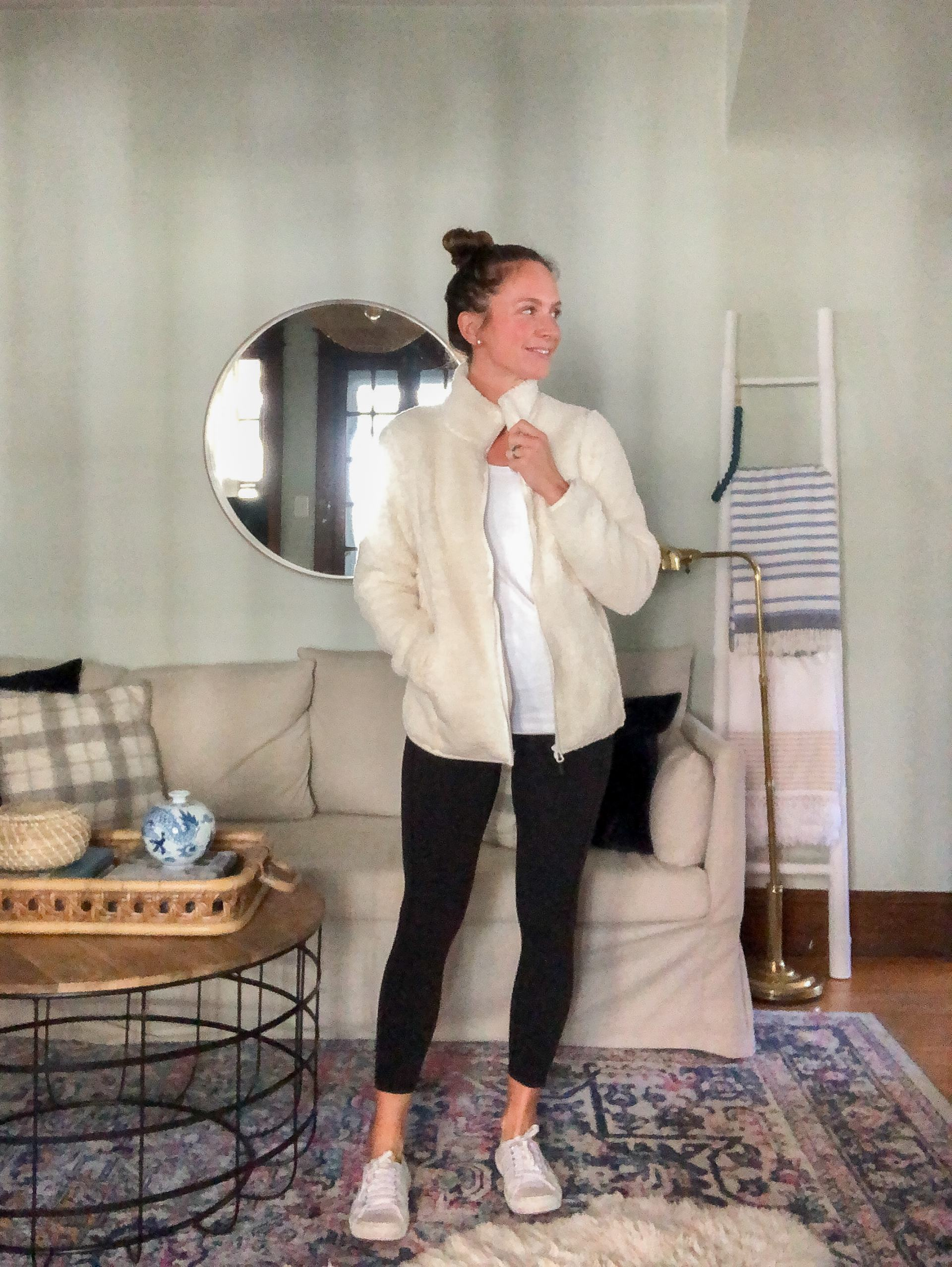 athleisure outfit with sherpa fleece and black colorfulcoala amazon leggings