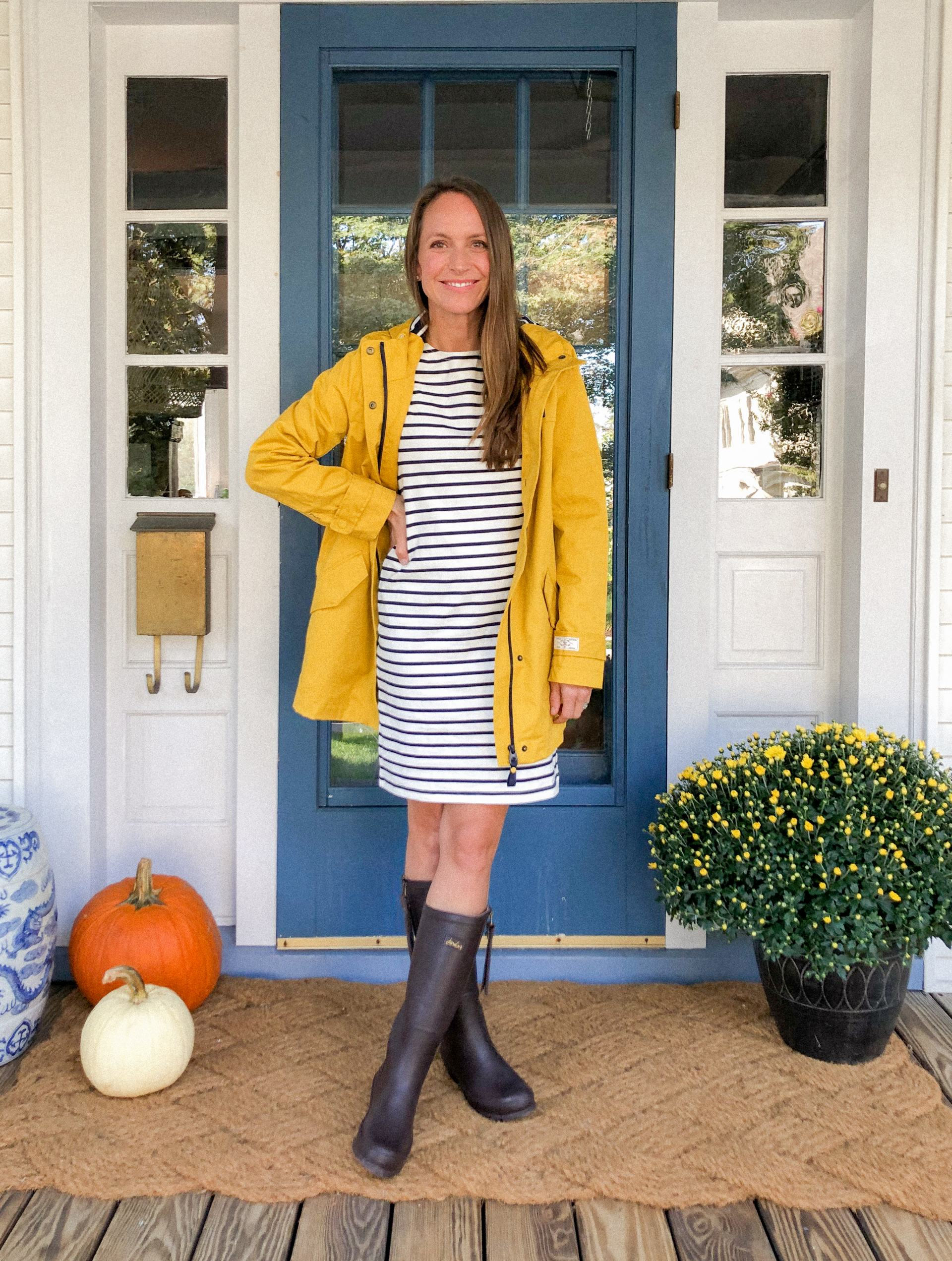 striped dress with yellow rain jacket and brown wellies
