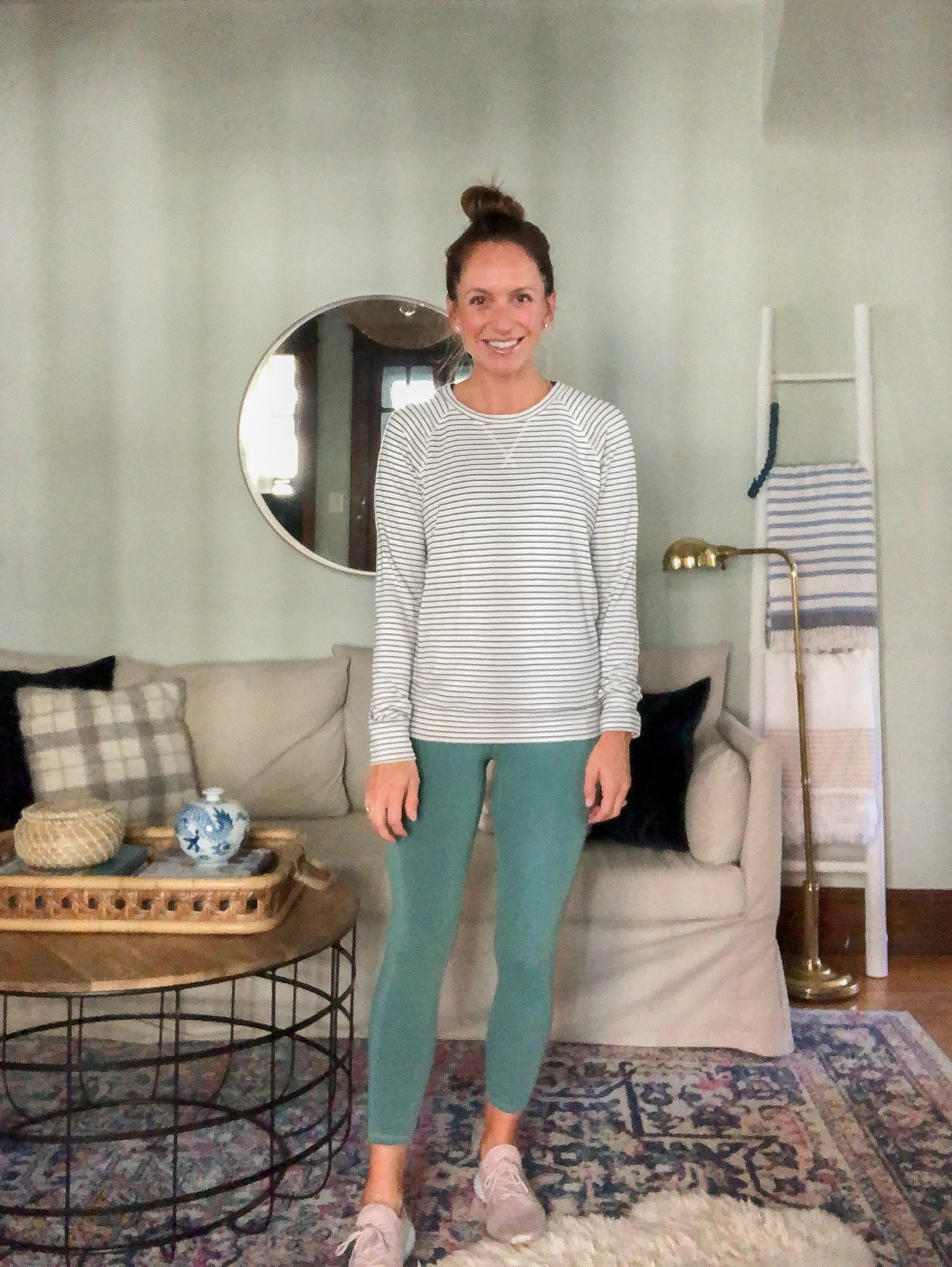 athleisure outfit with striped daily ritual sweatshirt and high rise amazon leggings