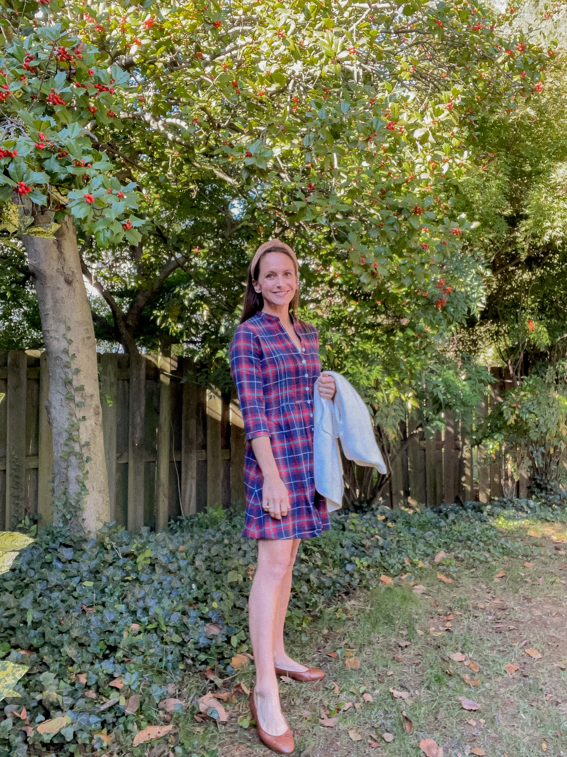 flannel plaid dress with cardigan and flats