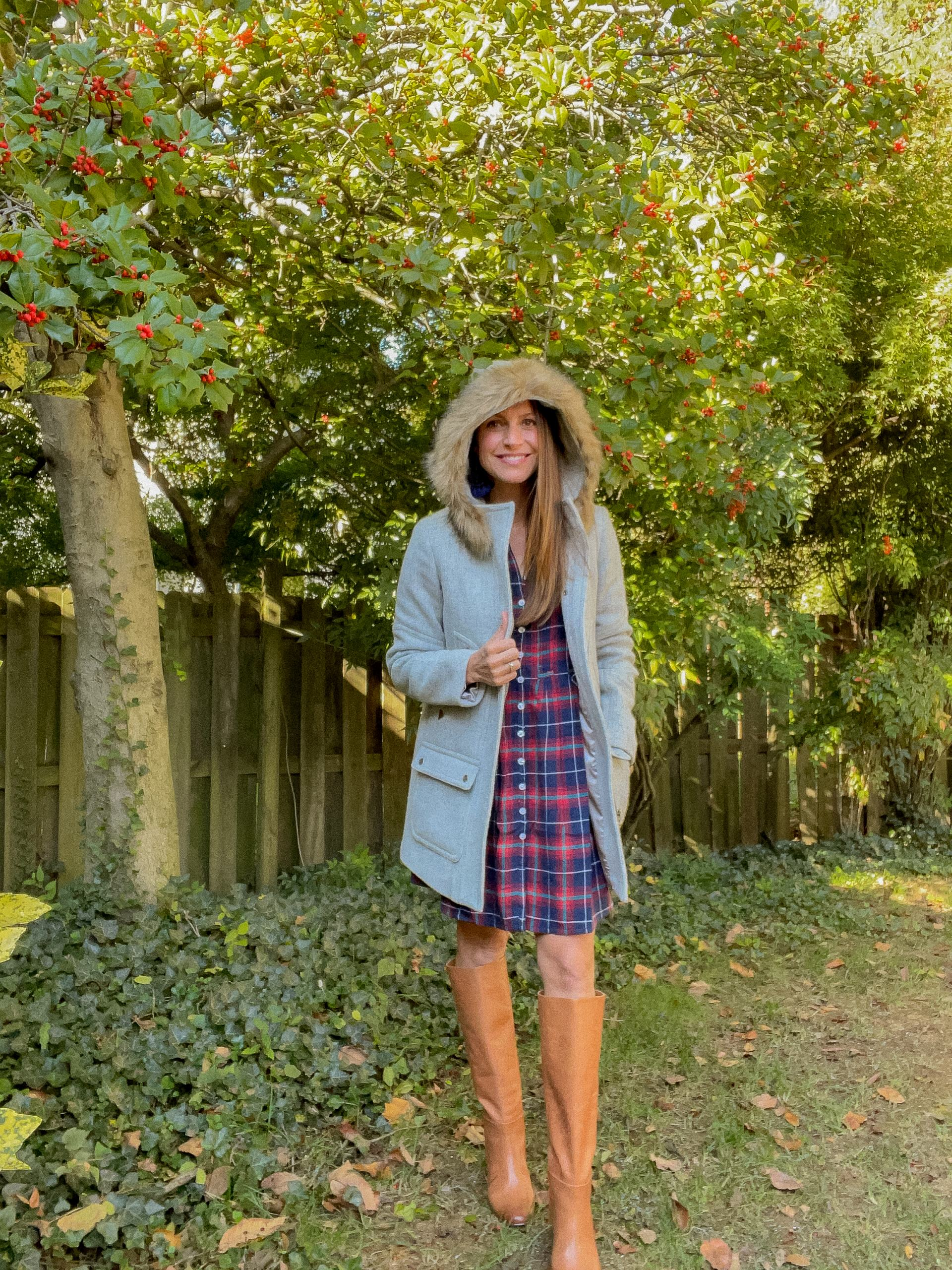plaid dress with boots and parka