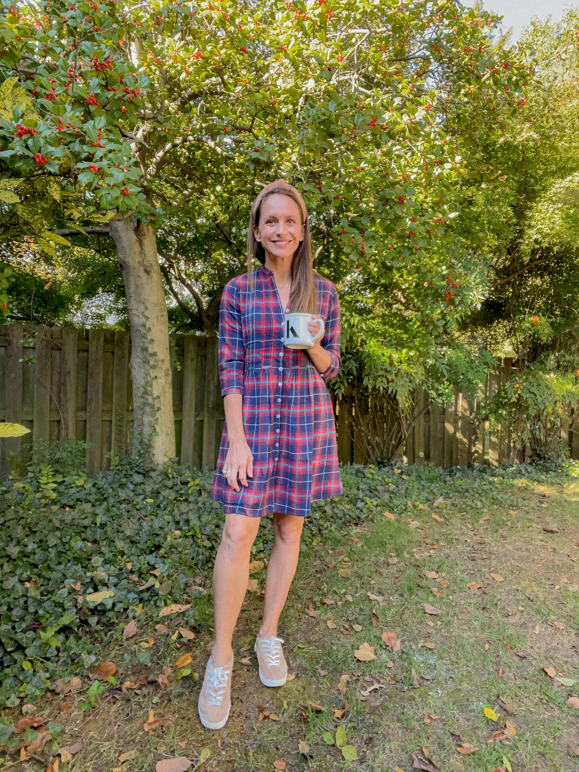 plaid dress with sneakers for fall