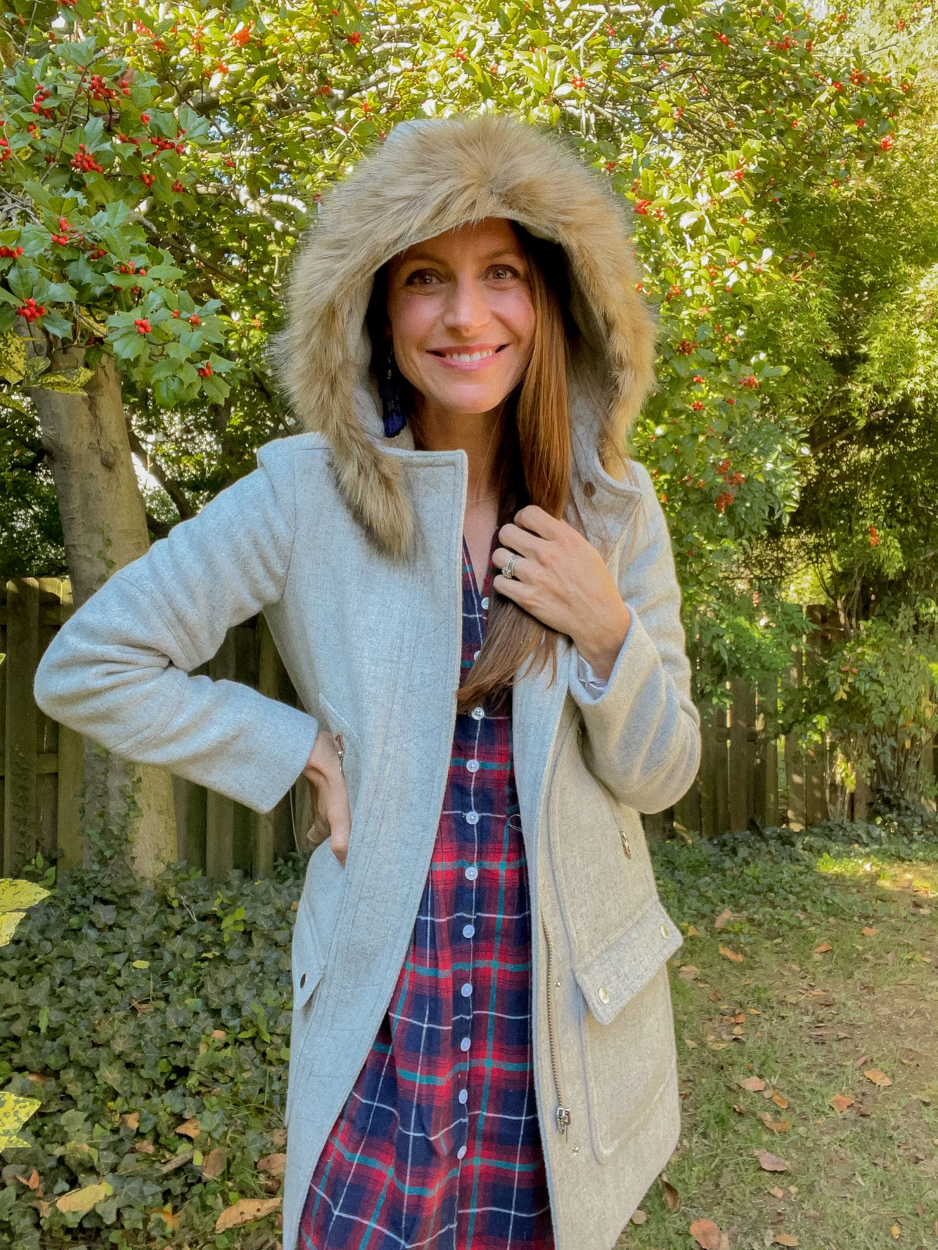 plaid dress with winter coat