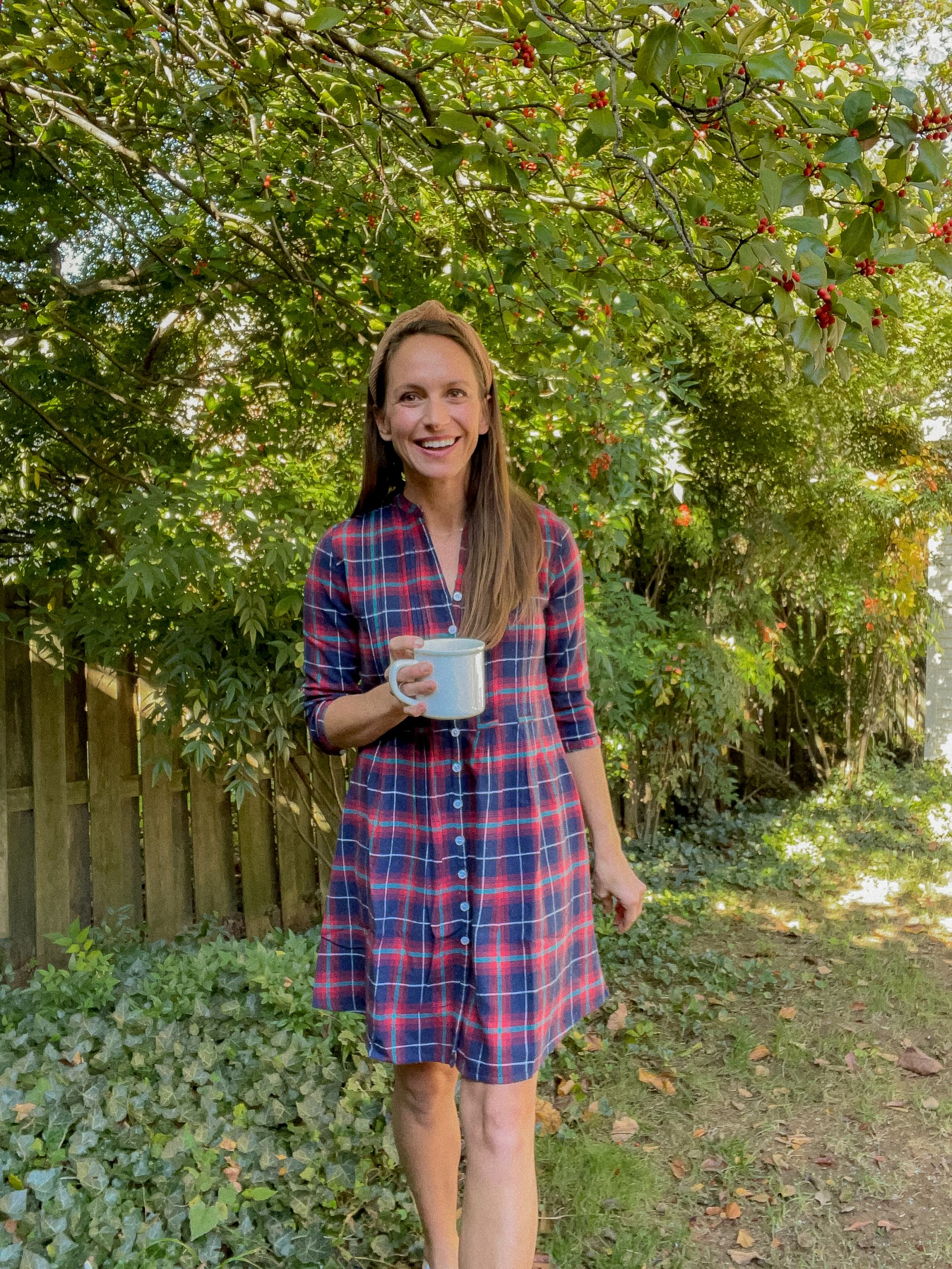 plaid dress for holidays with sneakers