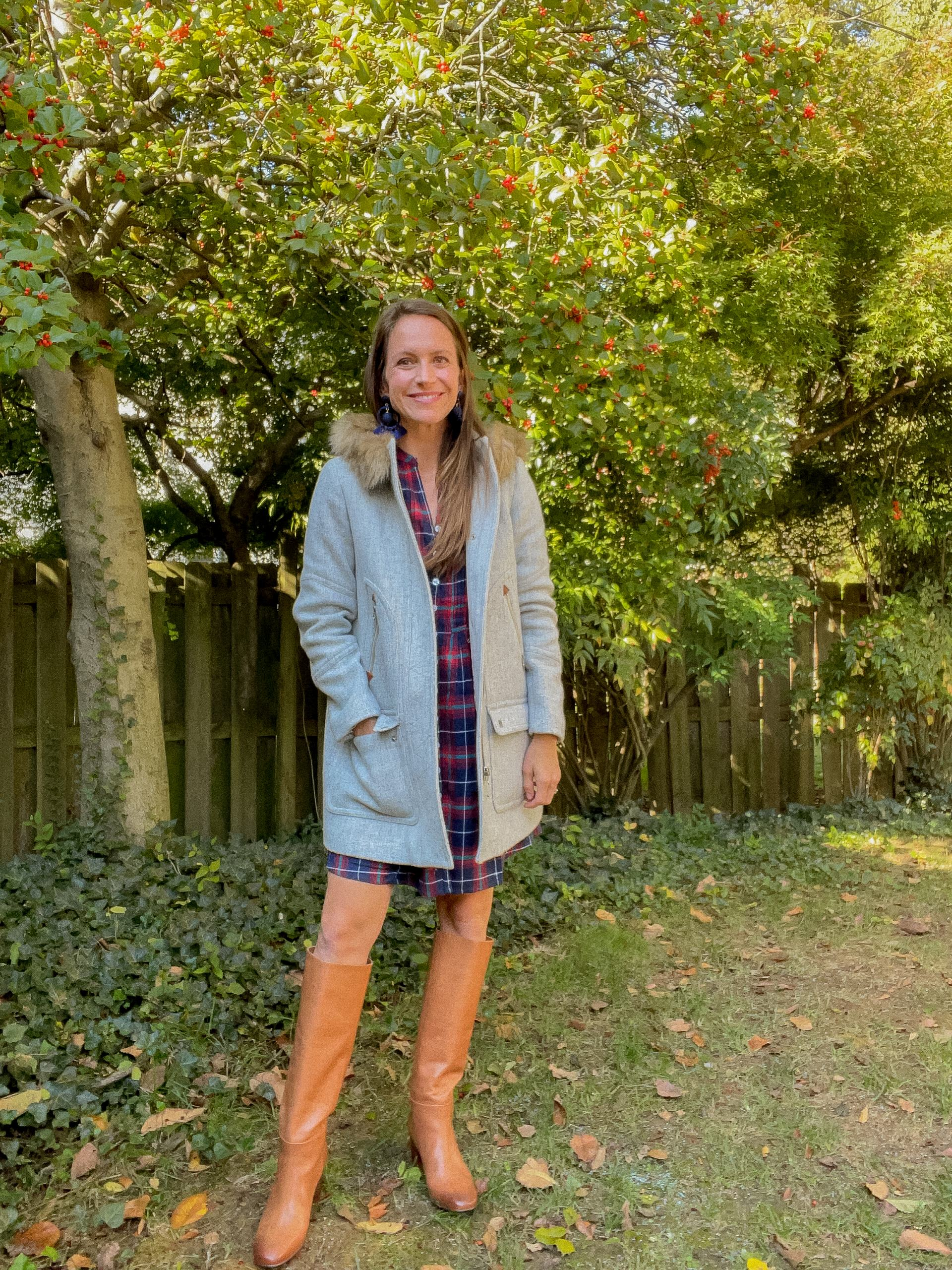 plaid dress with coat and boots
