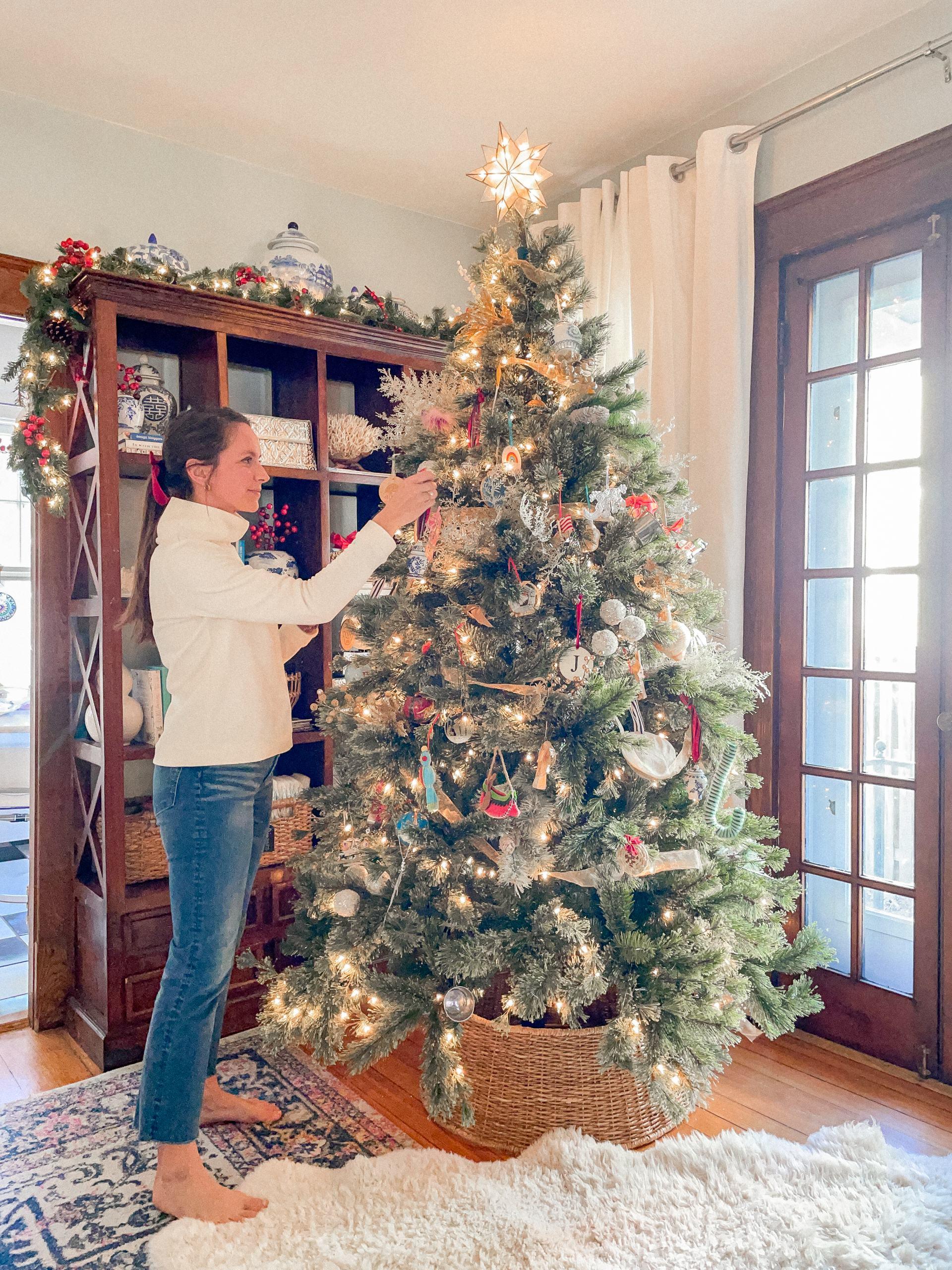 traditional christmas tree with woven tree collar