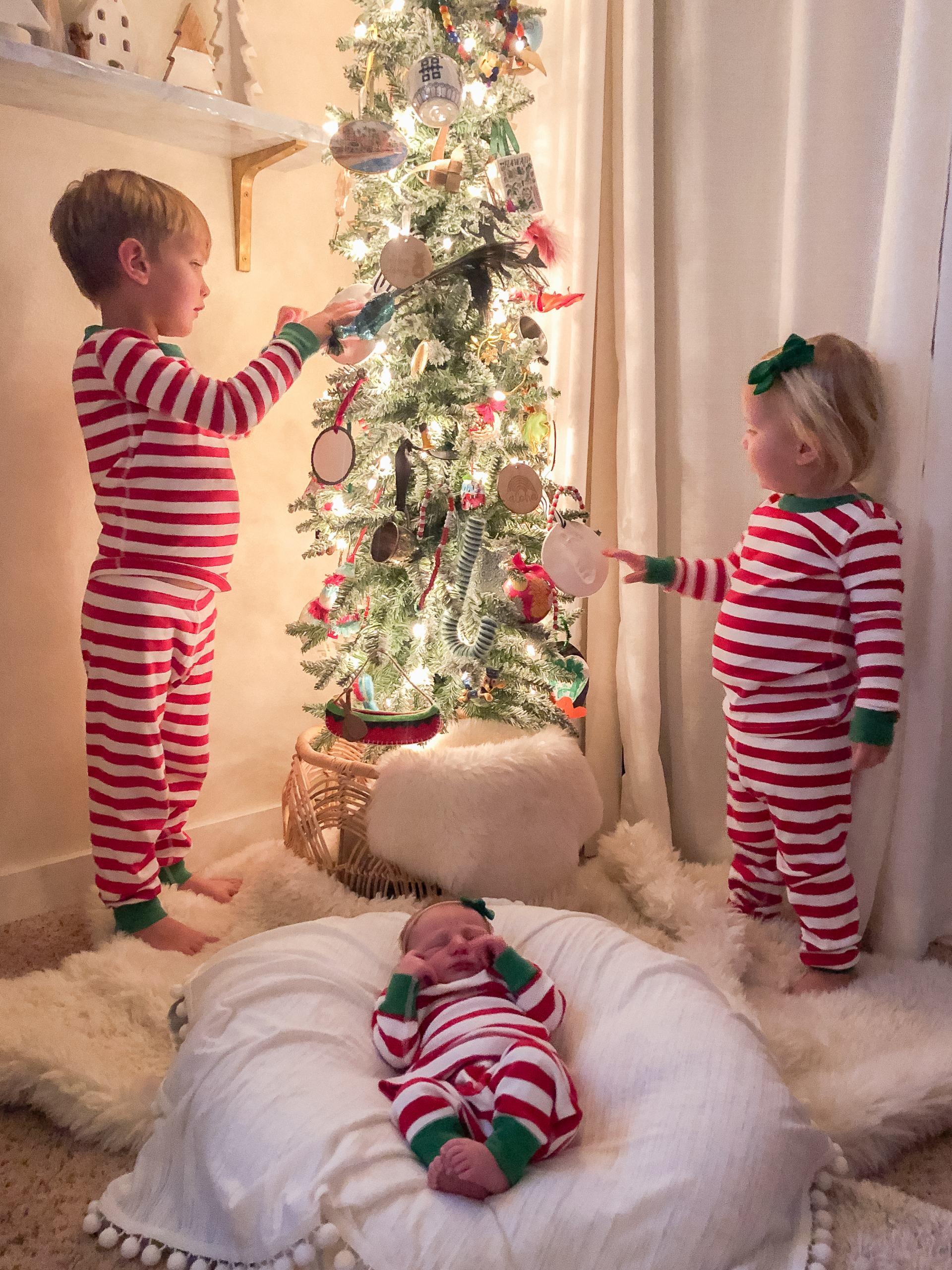 tall christmas tree matching pajamas