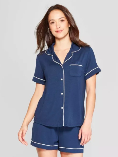 navy blue button down pajamas