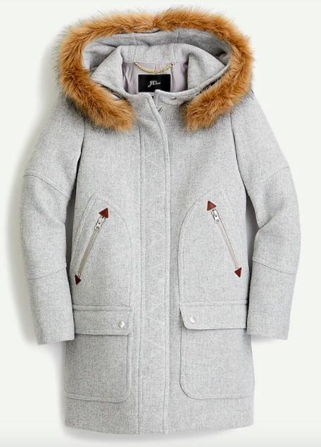j.crew coat with faux fur trim hood