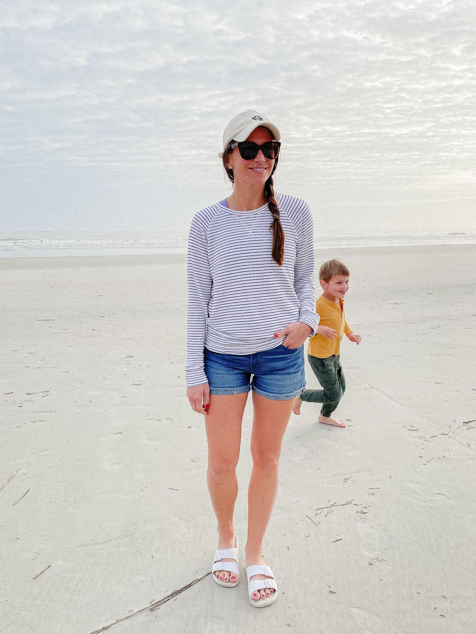amazon striped sweatshirt and denim shorts