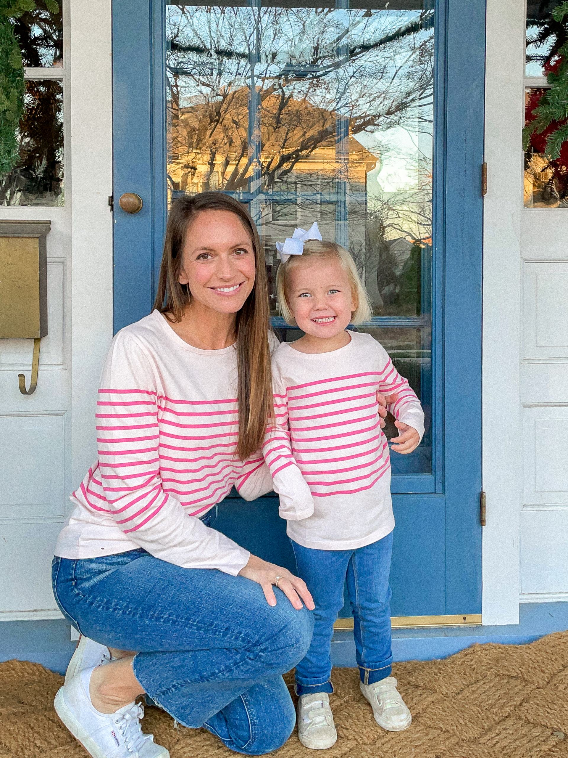 pink striped shirt with jeans