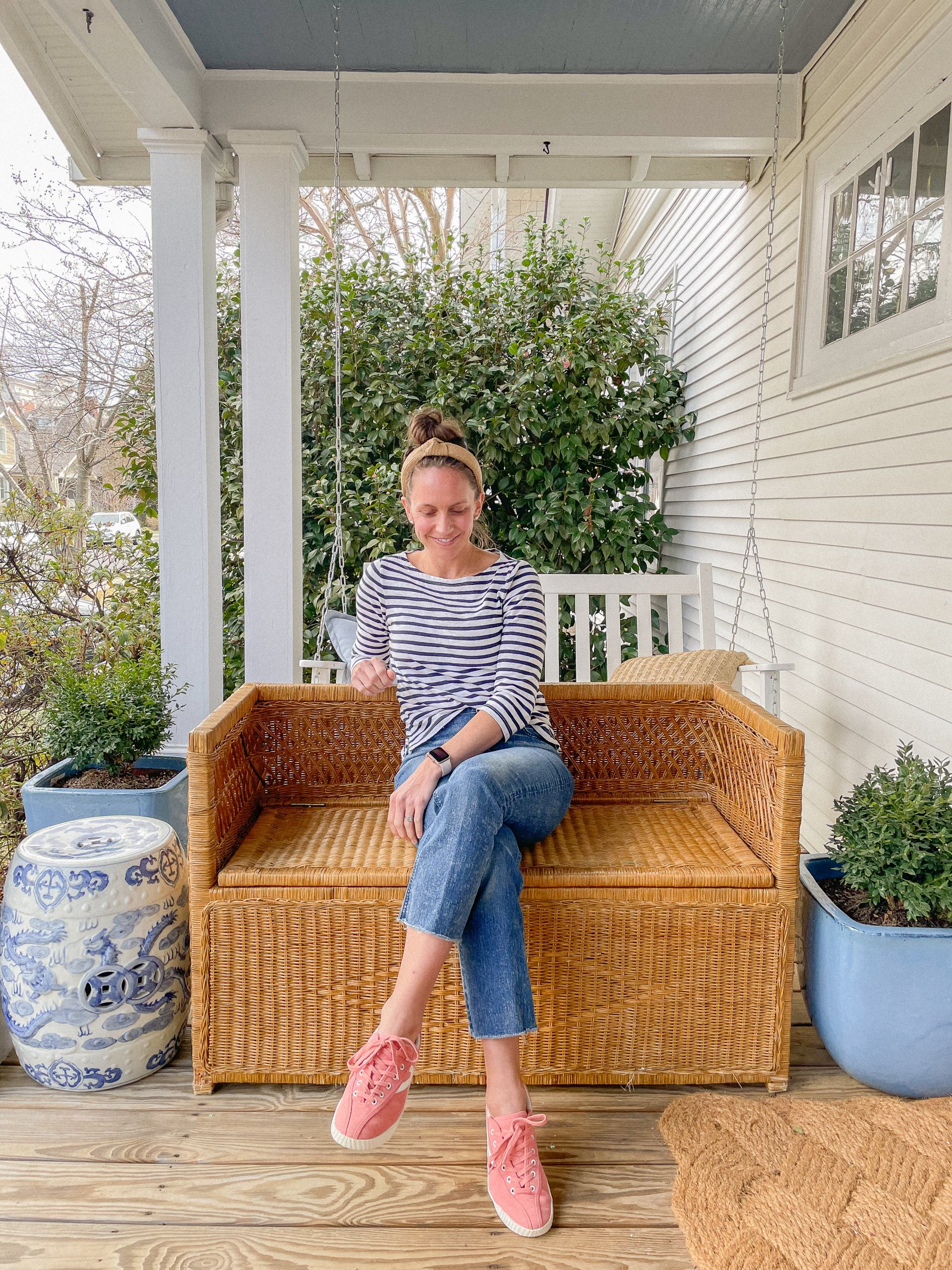 vintage wicker bench with storage