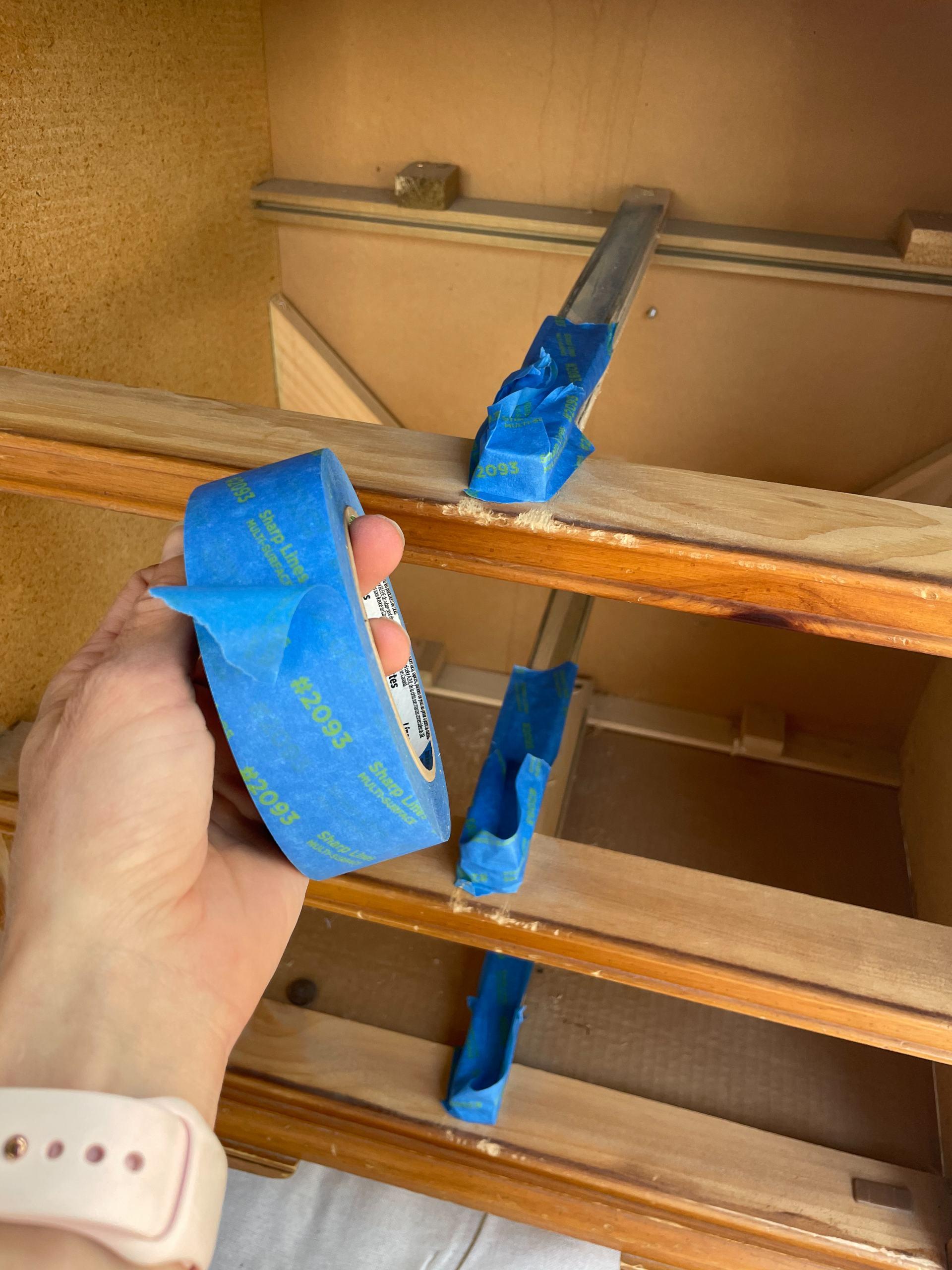 painters tape on railing