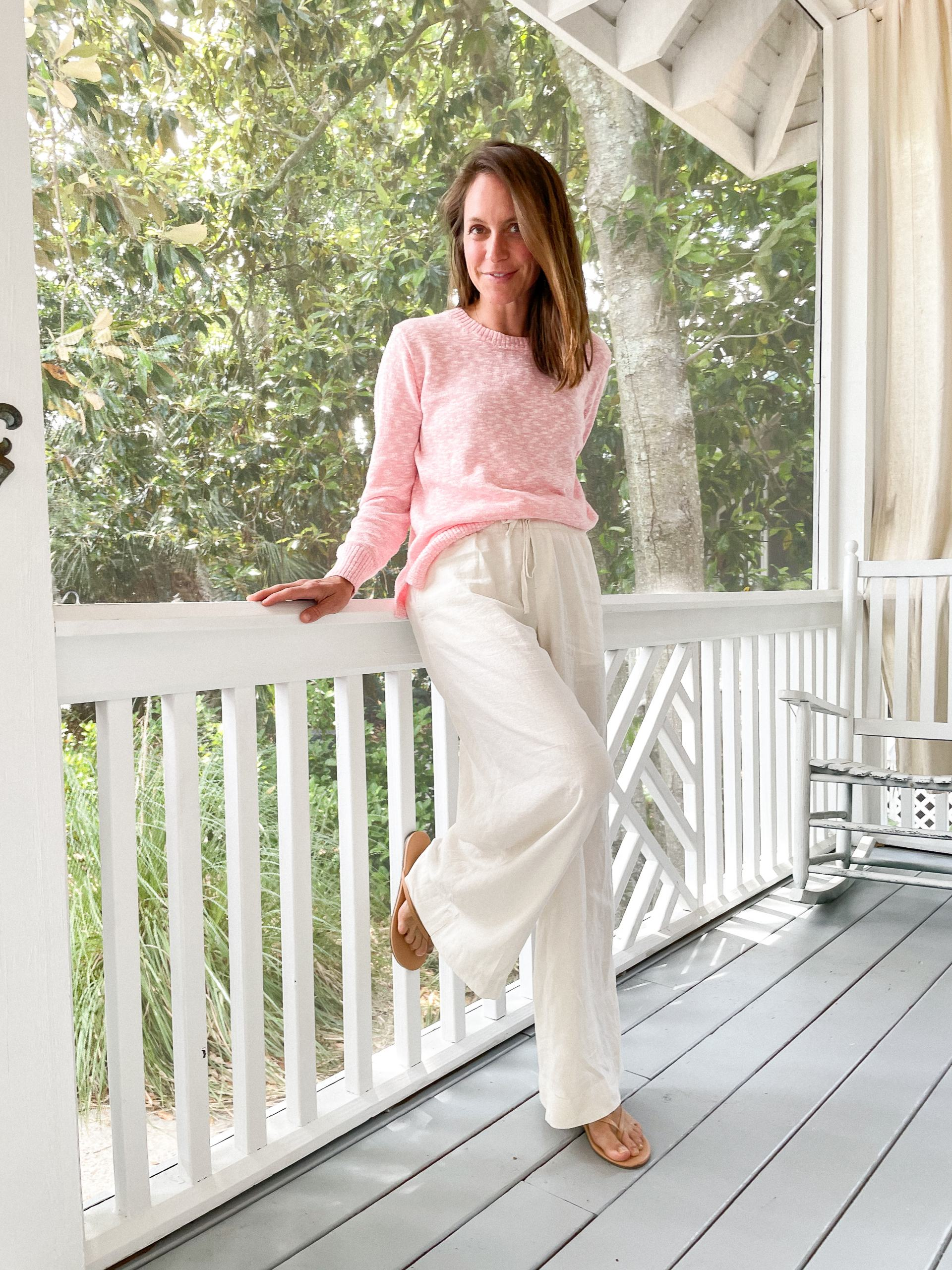 beach sweater with linen pants