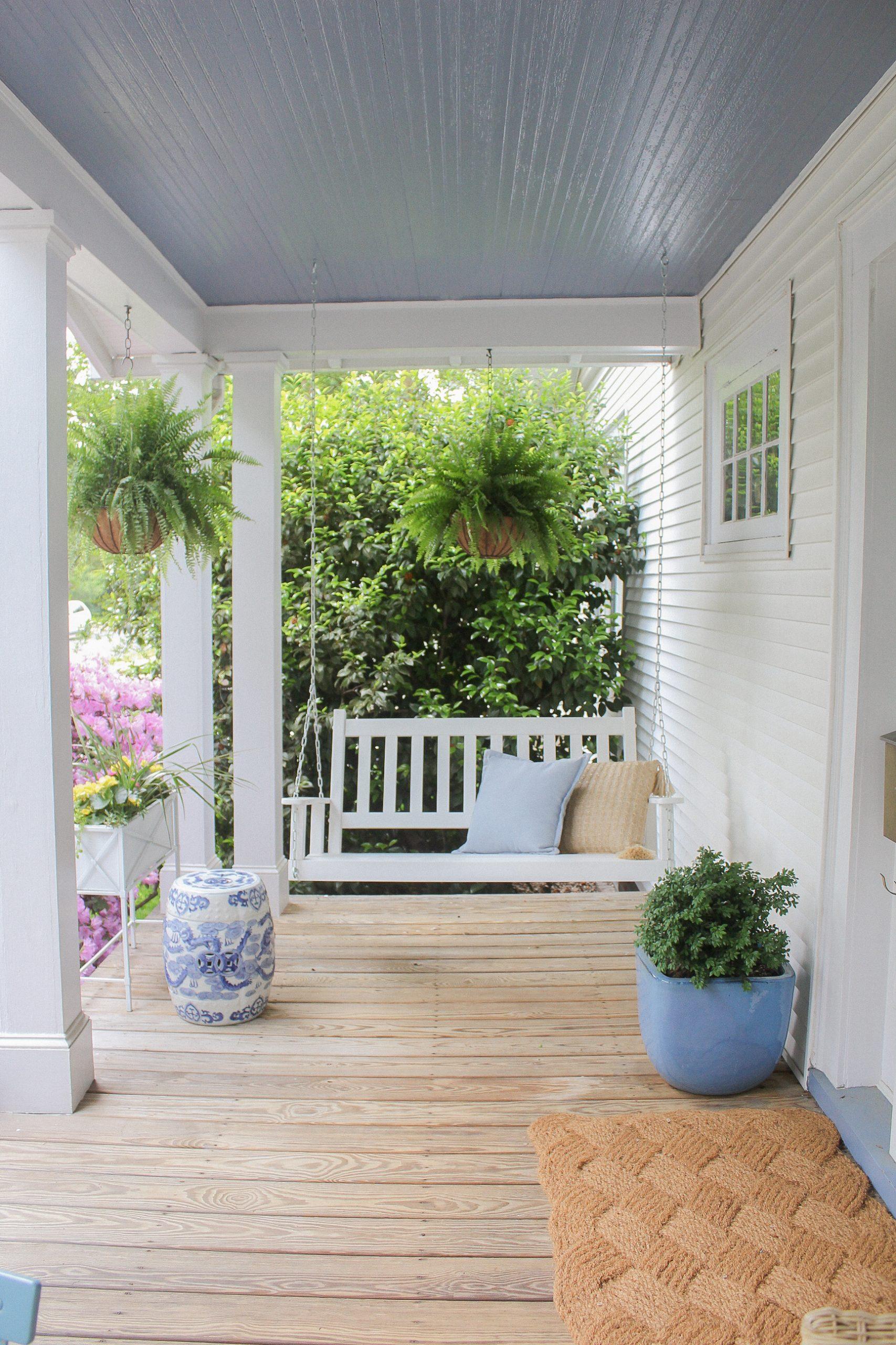 white porch swing