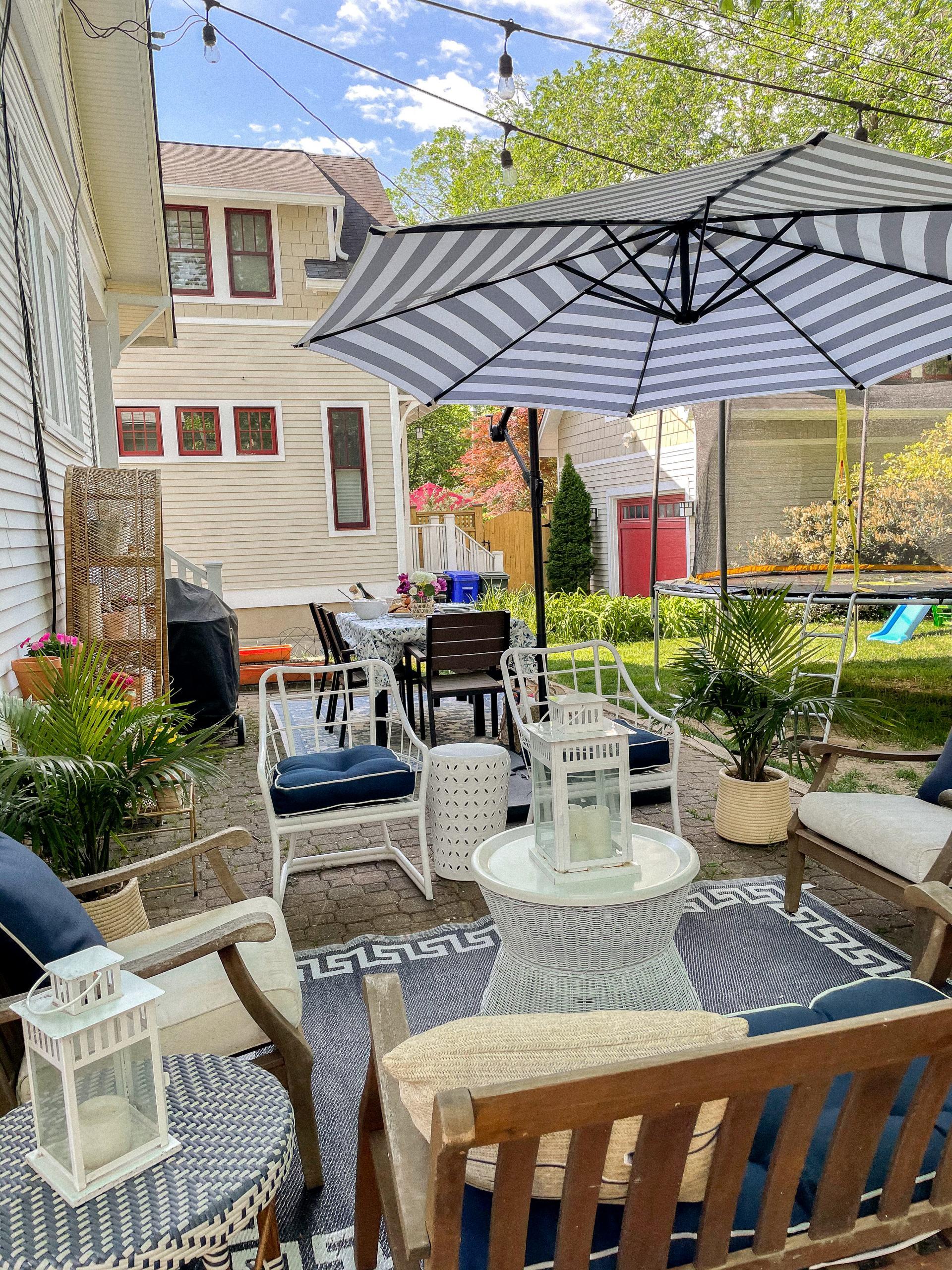 backyard striped umbrella