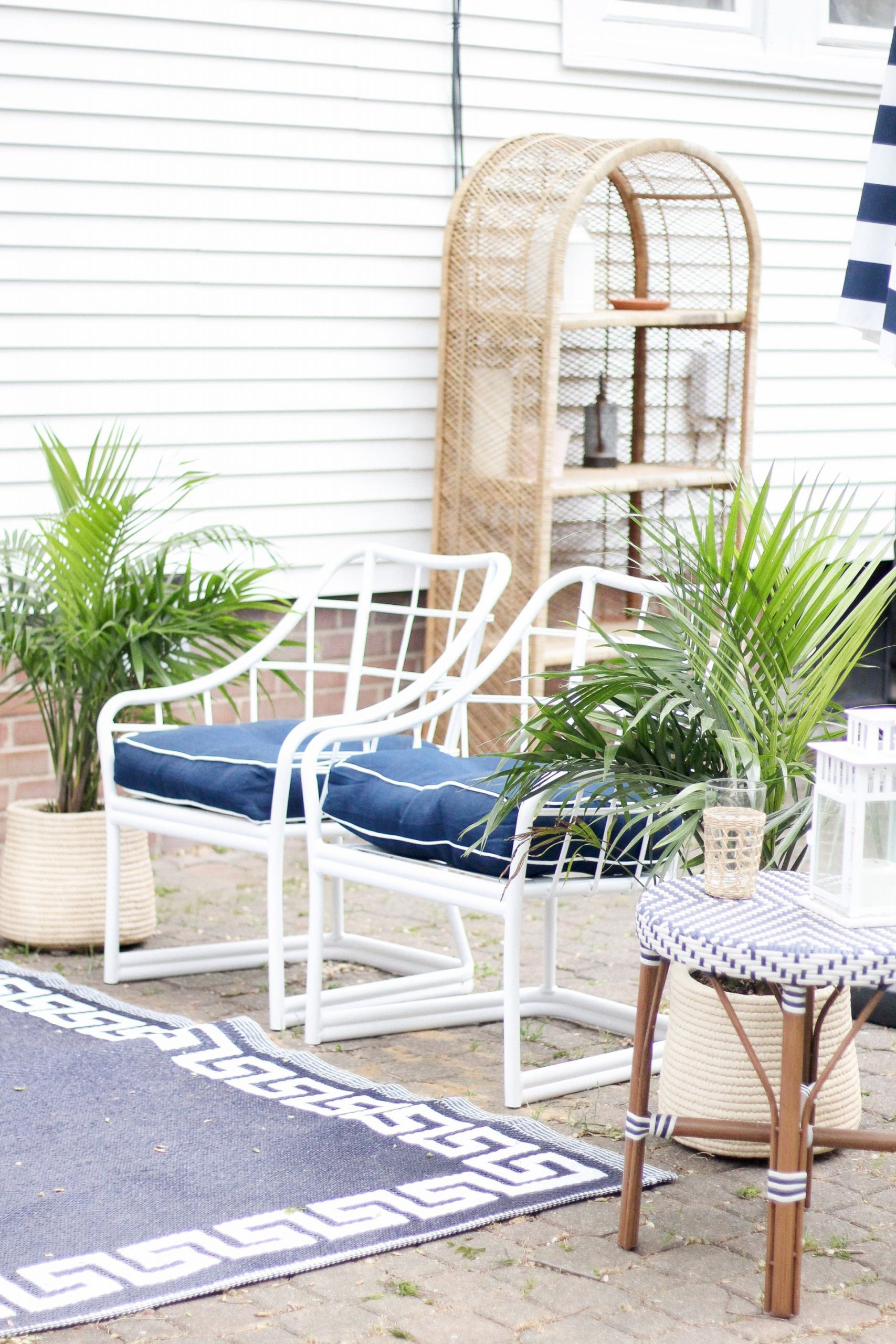 blue and white patio