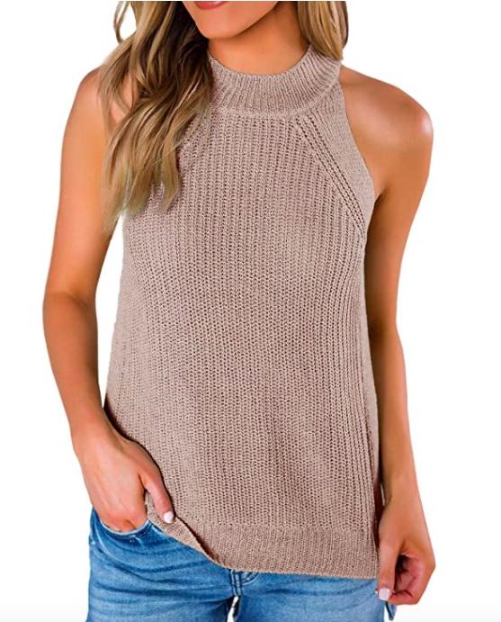 khaki sweater tank amazon