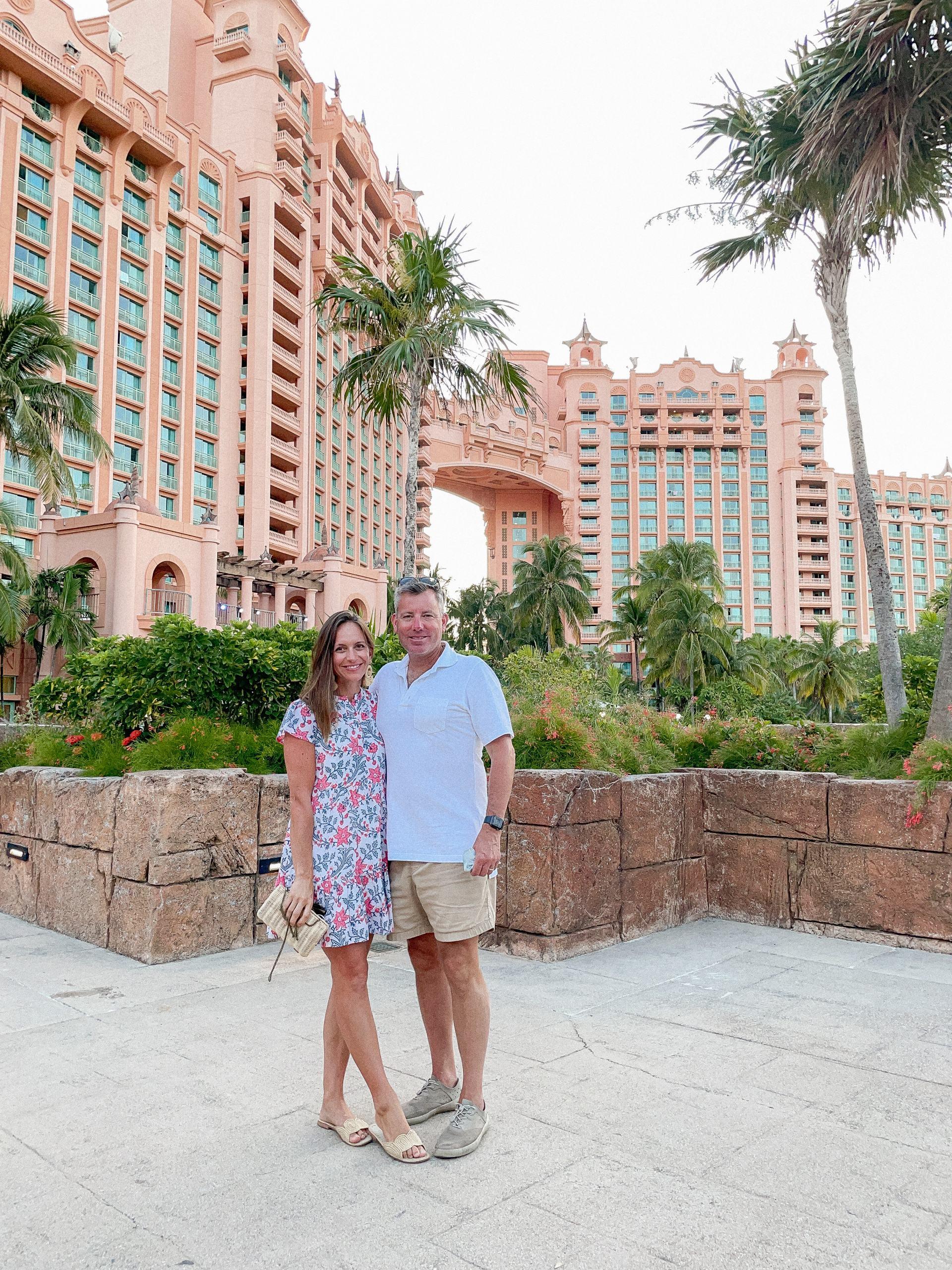 atlantis resort - madison mathews dress - folly mini dress - raffia sandals - rattan clutch - classic style - resort style