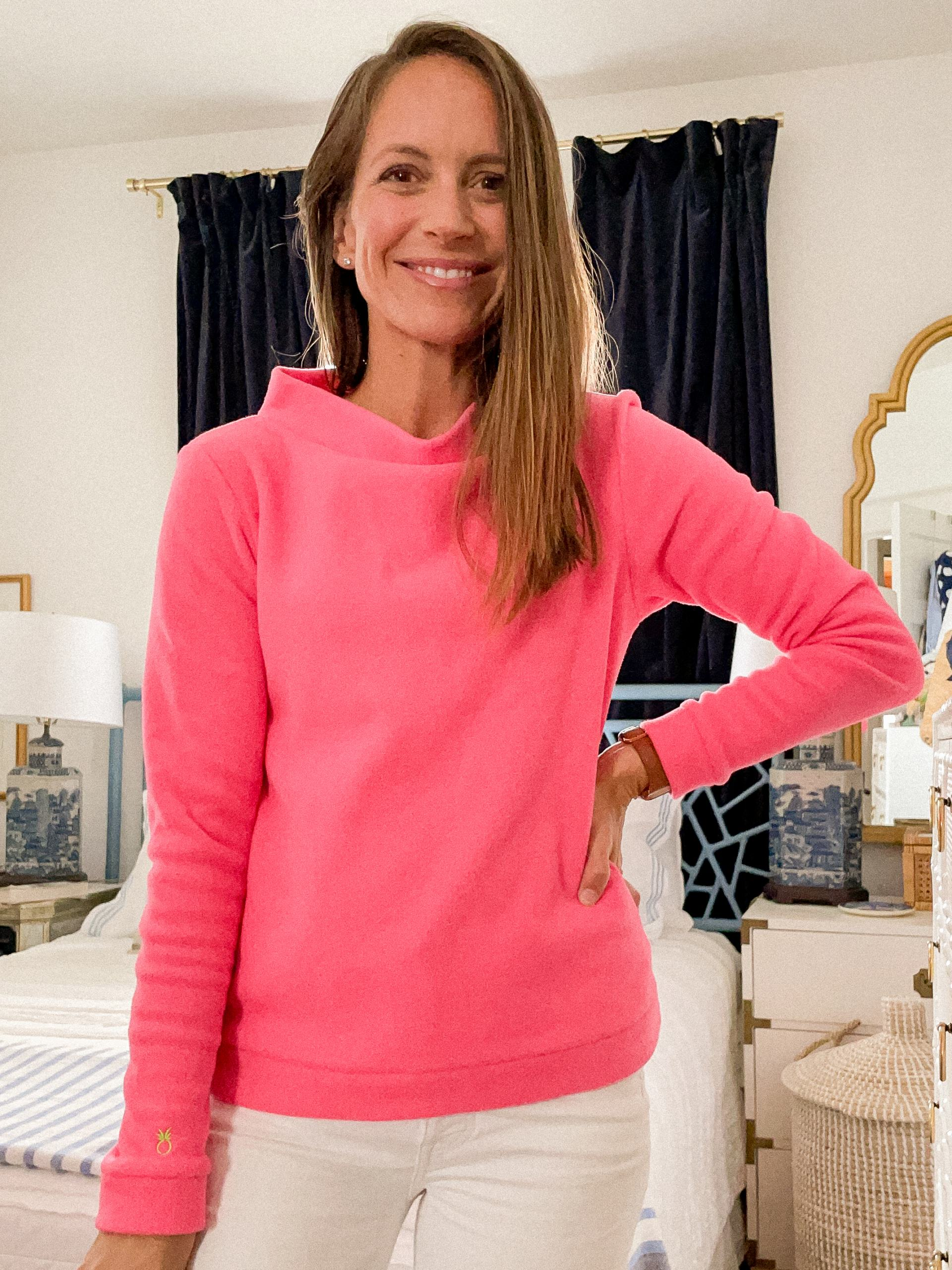 dudley stephens fleece - dudley stephens boatneck fleece - neon pink vello fleece - classic style