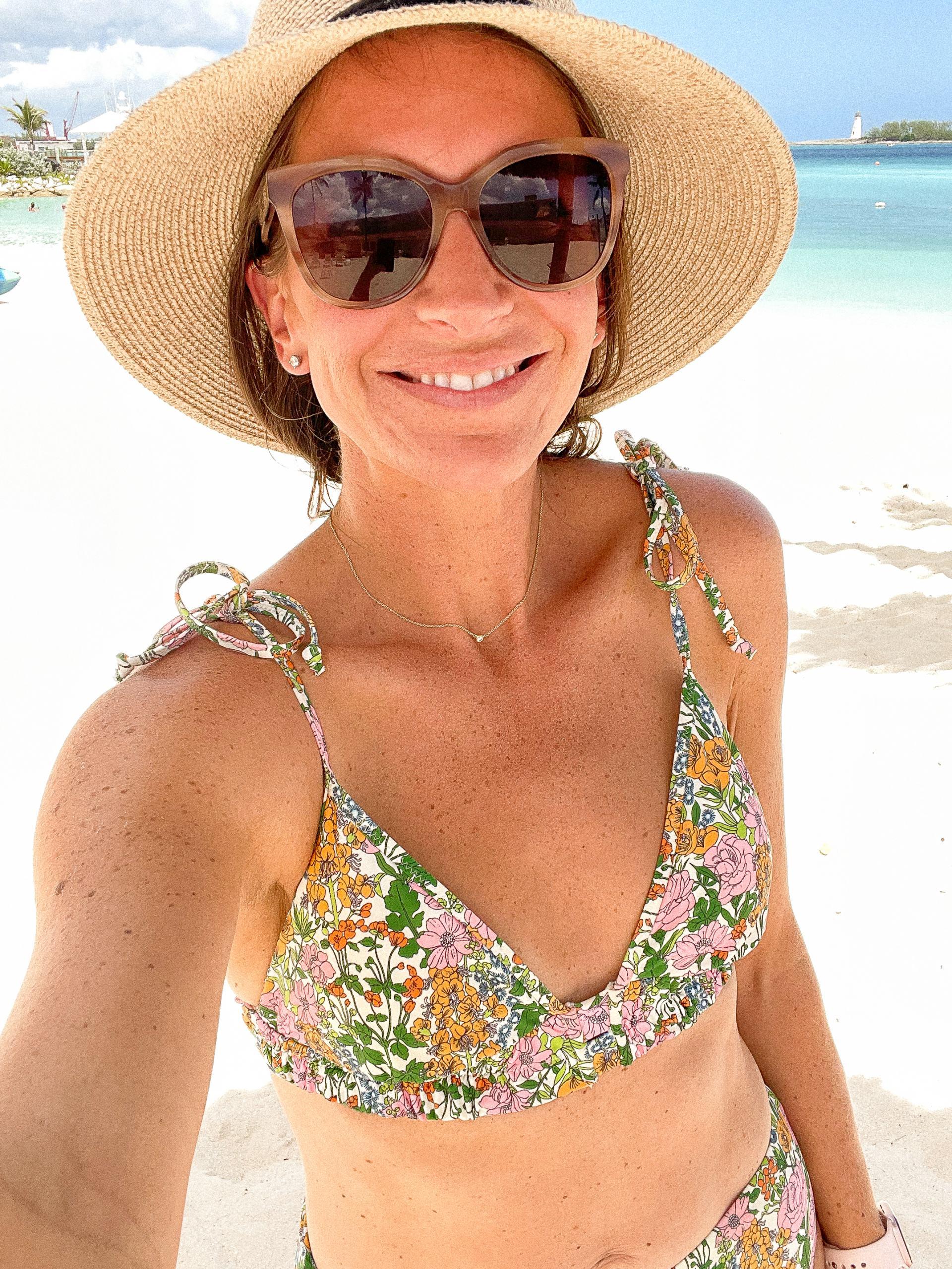 liberty print bikini - packable sunhat - mohala eyewear sunglasses - resort wear - classic style