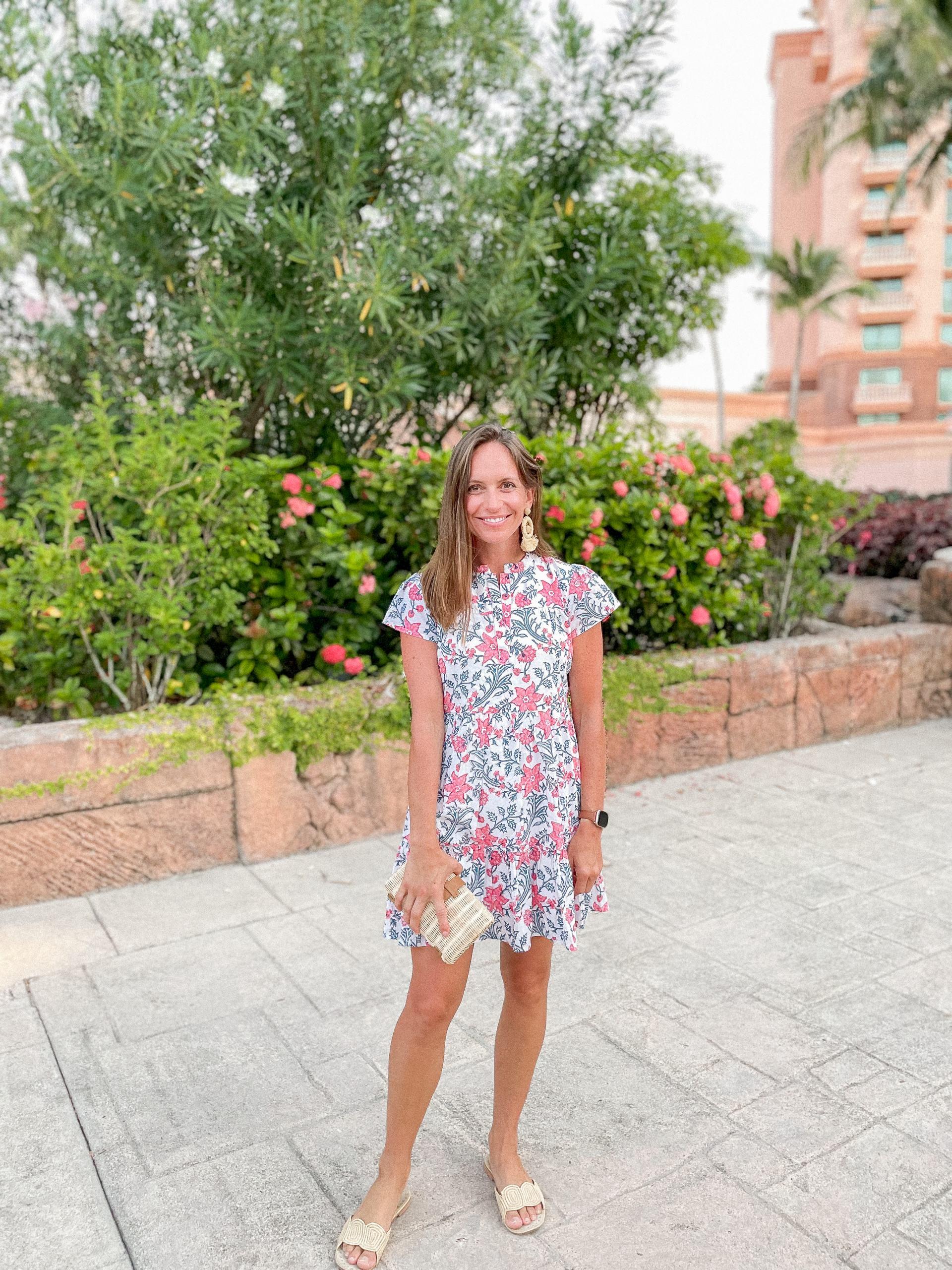 madison mathews dress - folly mini dress - raffia sandals - rattan clutch - classic style - resort style