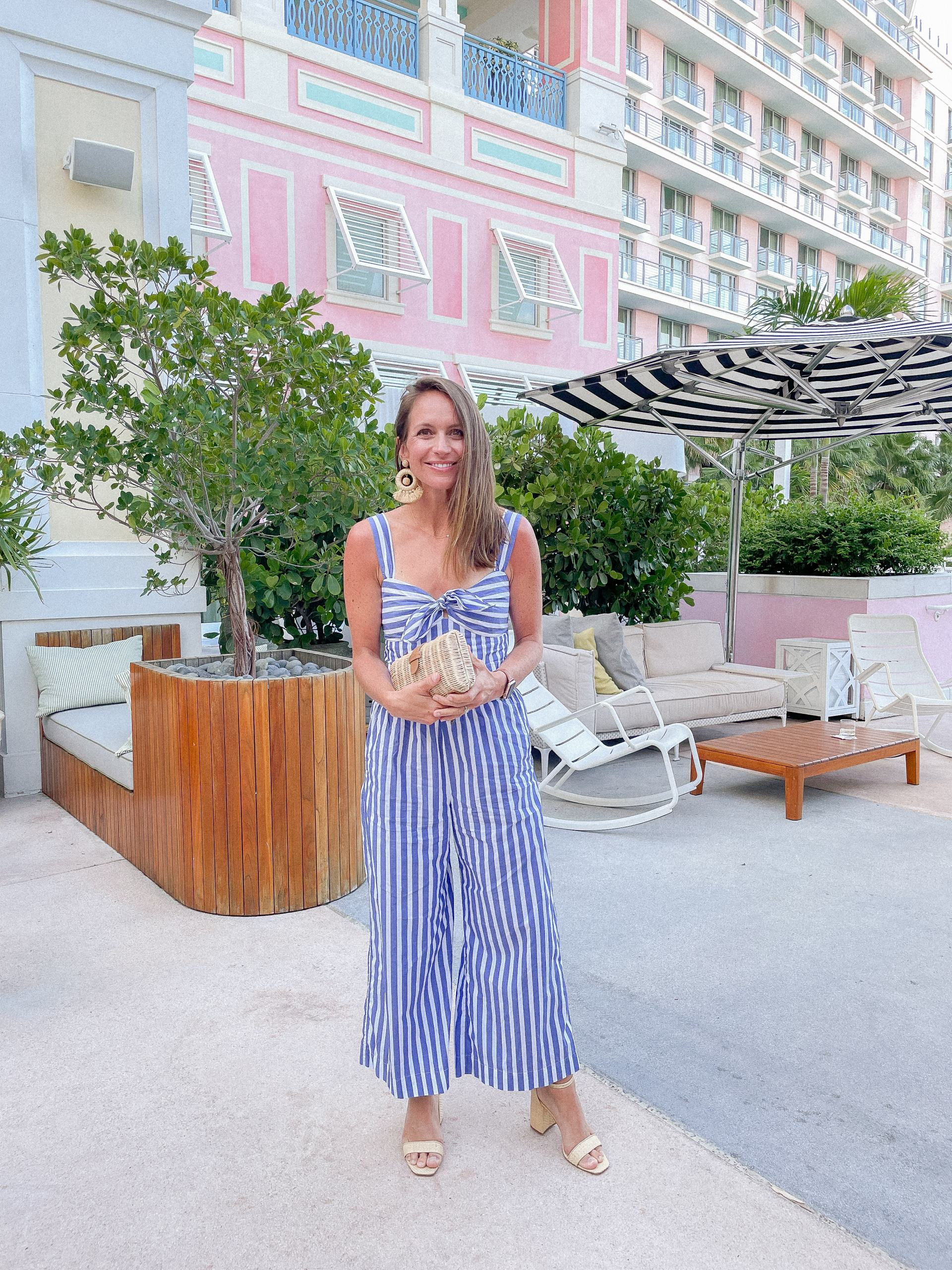 classic style - resort wear - striped 2 piece outfit - j. crew awning striped wide leg pants and tie front crop top - j mclaughlin esme heels - baha mar resort