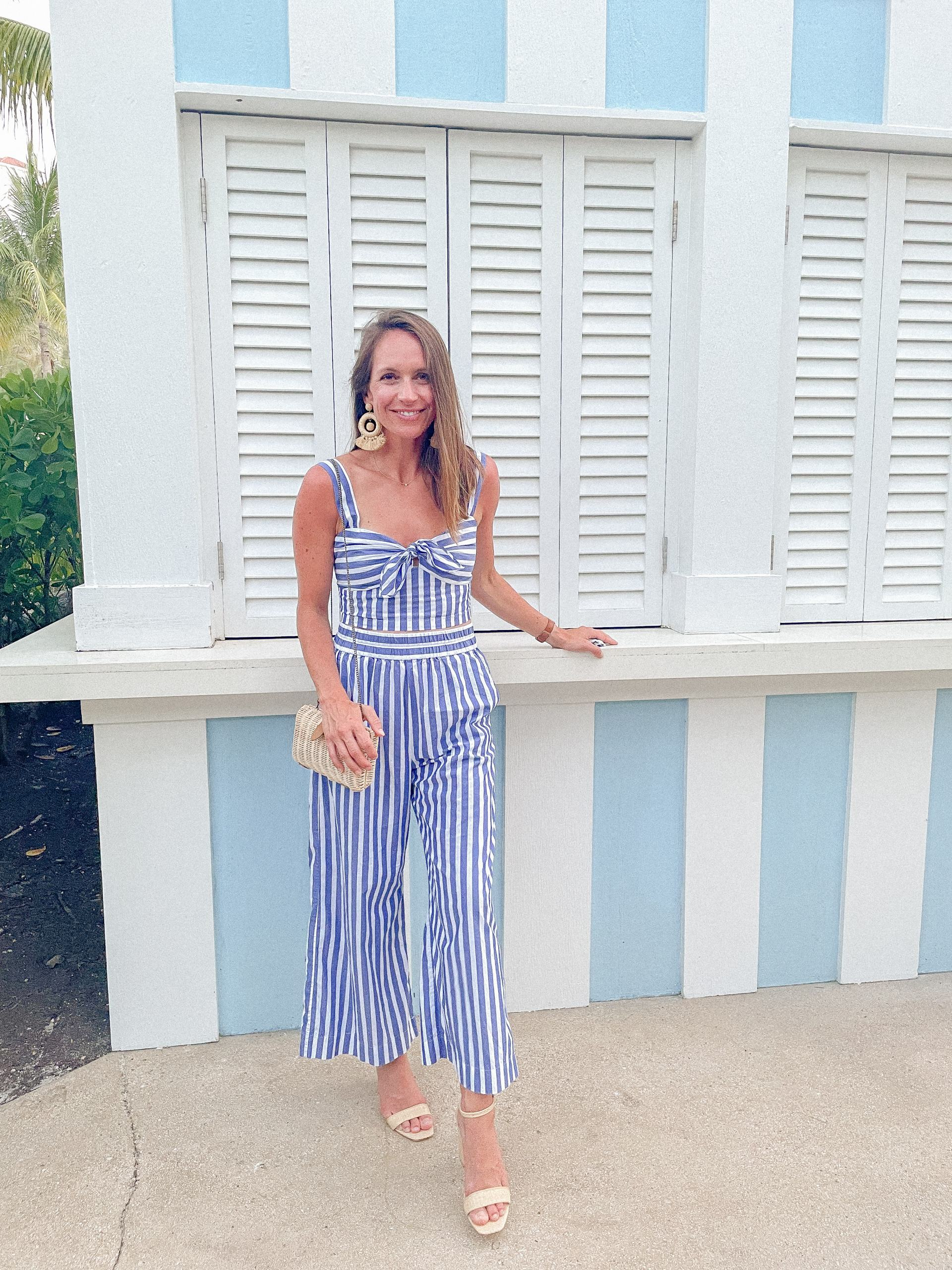 classic style - resort wear - striped 2 piece outfit - j. crew awning striped wide leg pants and tie front crop top - j mclaughlin esme heels