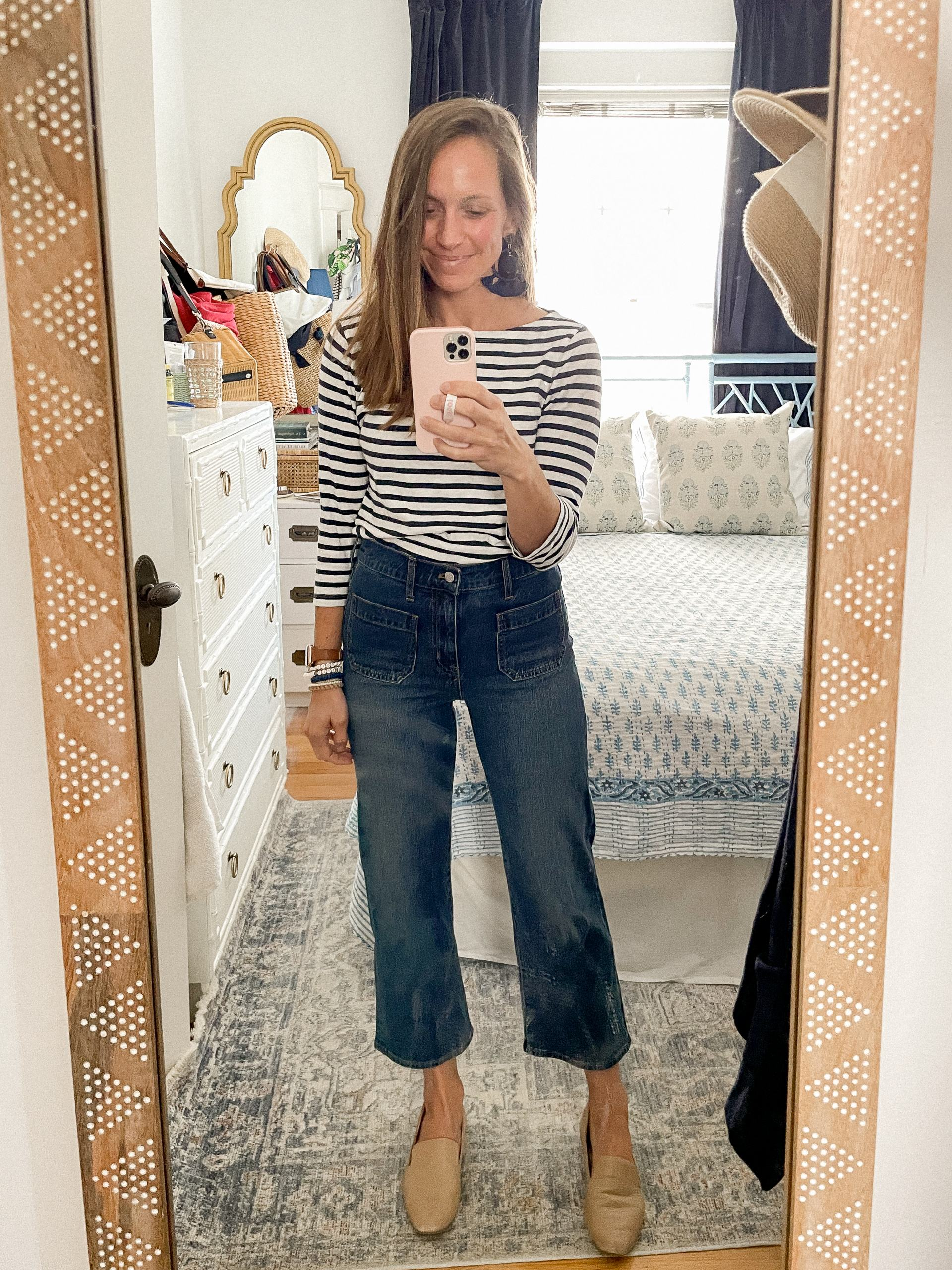 early fall style - wide leg jeans - striped shirt - birdies loafers