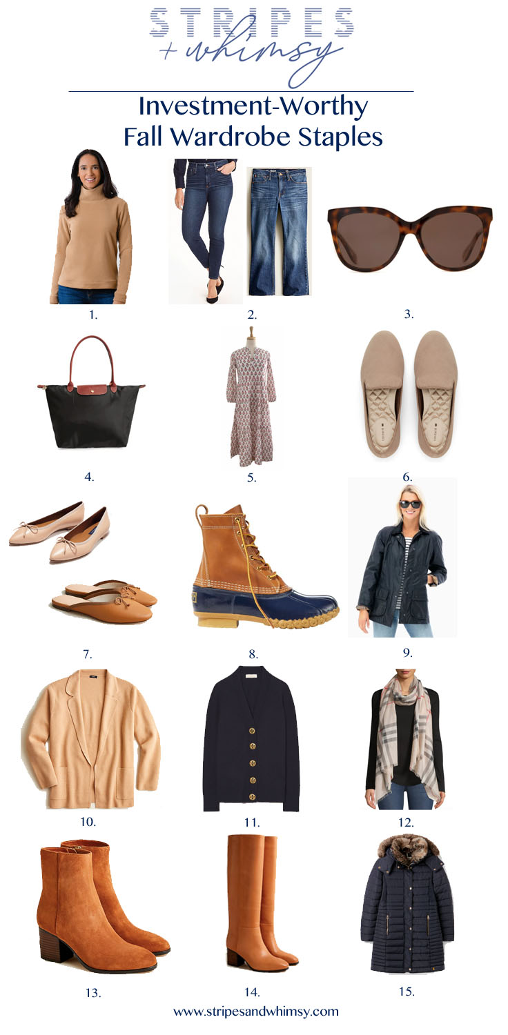 fall wardrobe staples - bean boots - leather boots - longchamp le pliage tote - birdies loafers - barbour coat - dudley stephens fleece - classic style - grandmillennial style