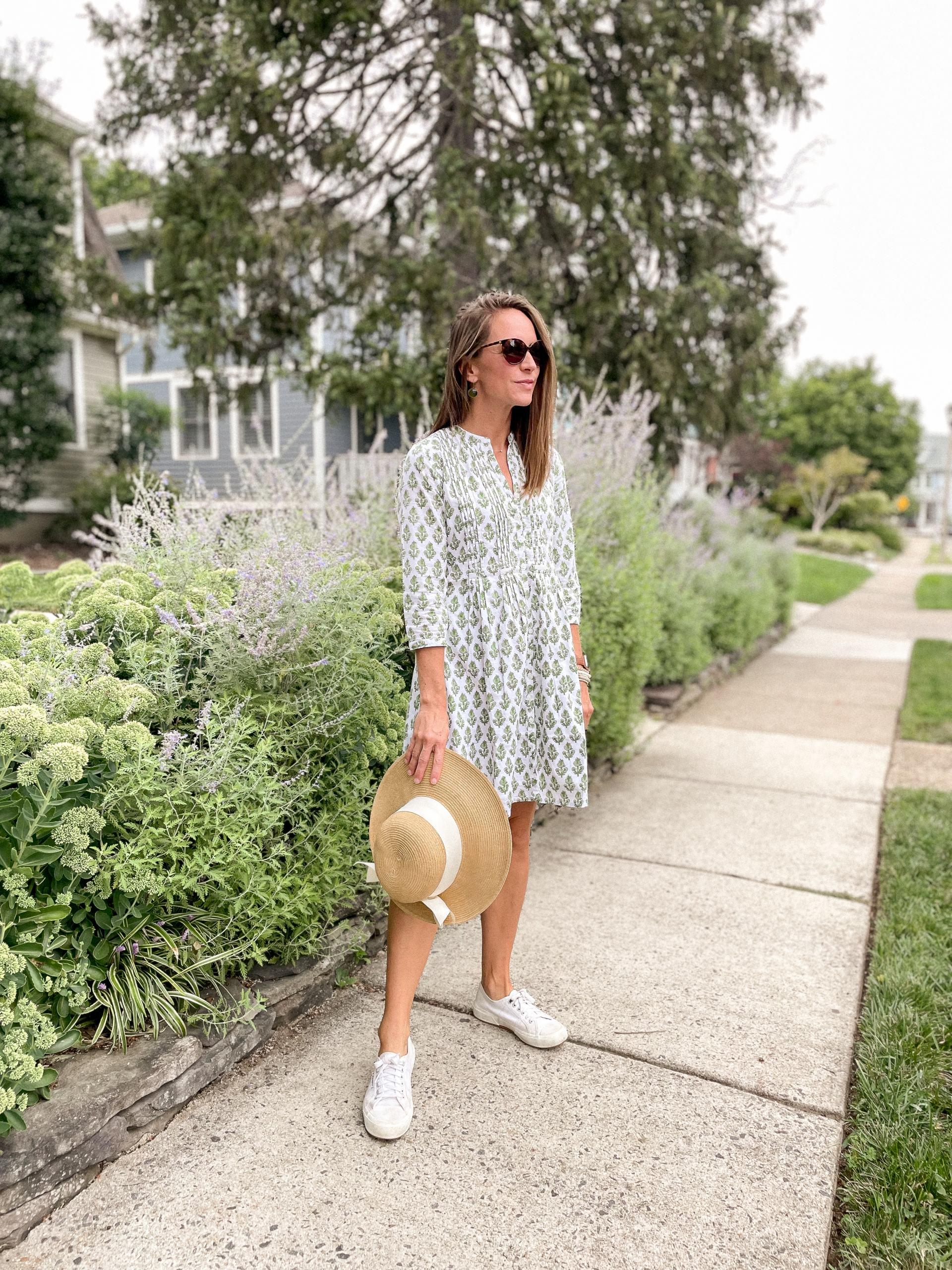 green fall dress - madison mathews dress - madison mathews juliette dress - grandmillennial style - superga cotu sneakers - mohala eyewear sunglasses - packable bow sunhat tuckernuck