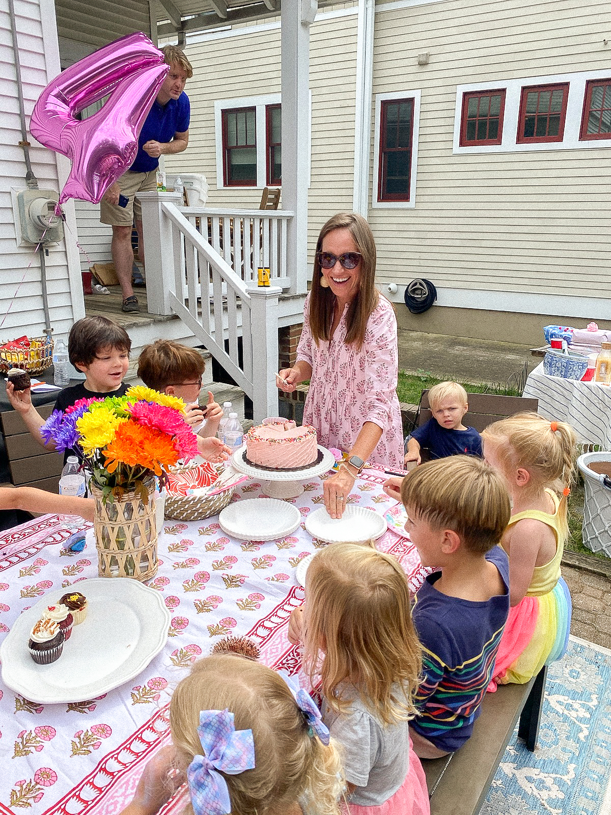 madison mathews juliette dress - kids birthday party - block print table cloth - block print dress - 4th birthday party