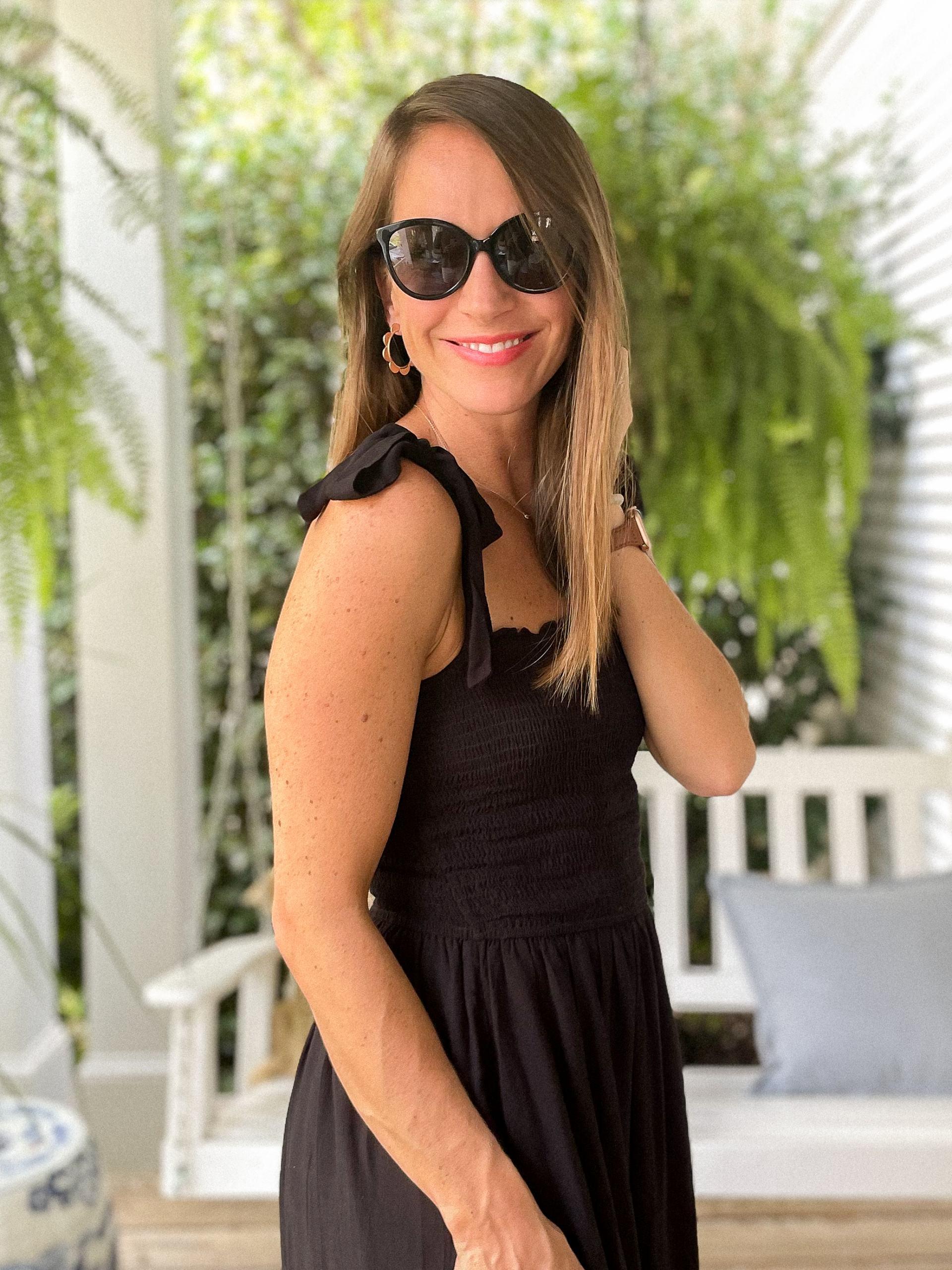 shoulder tie black dress - affordable maxi dress